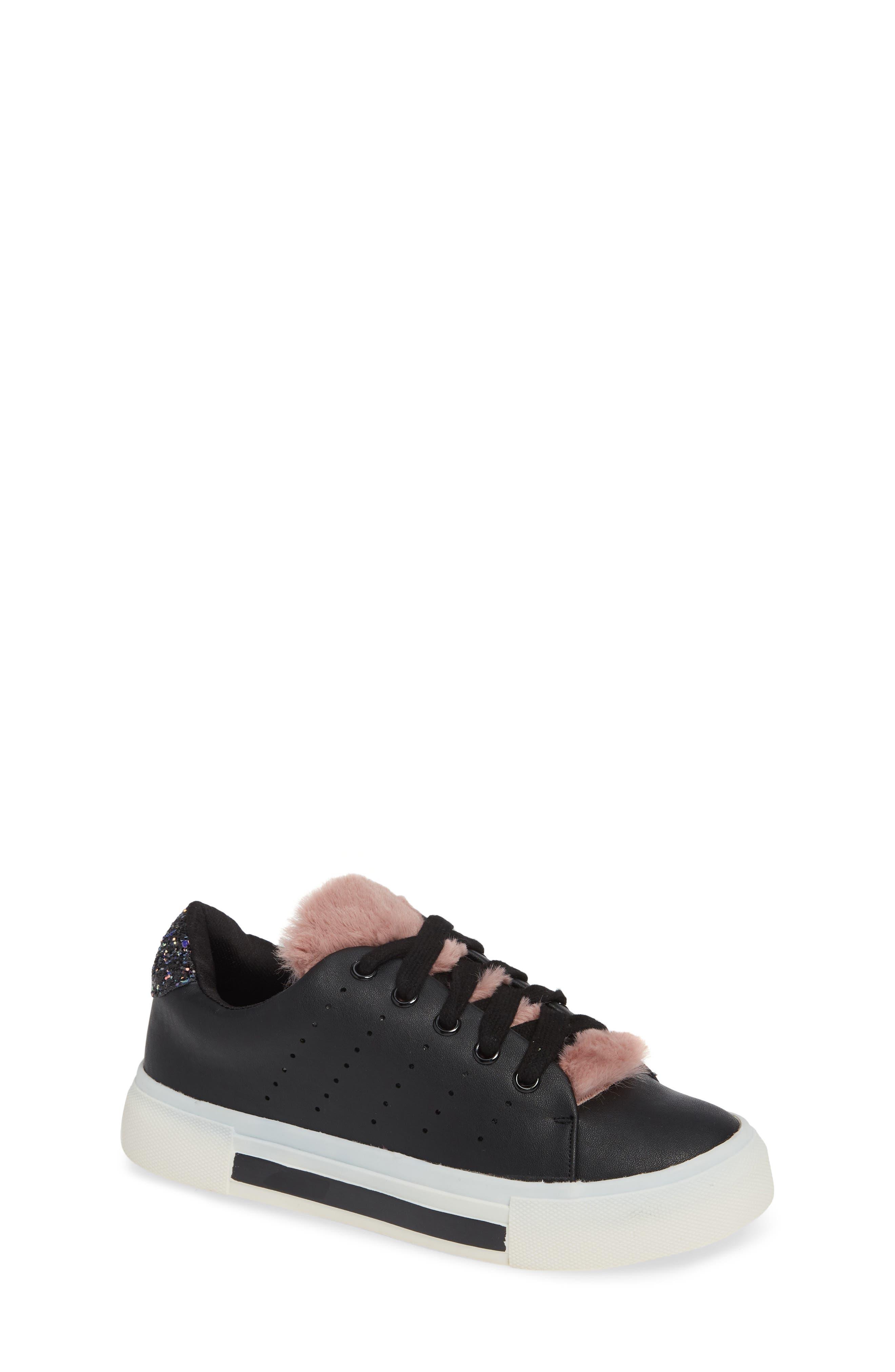 Cabel Glitter Faux Fur Sneaker,                         Main,                         color, BLACK STELLA