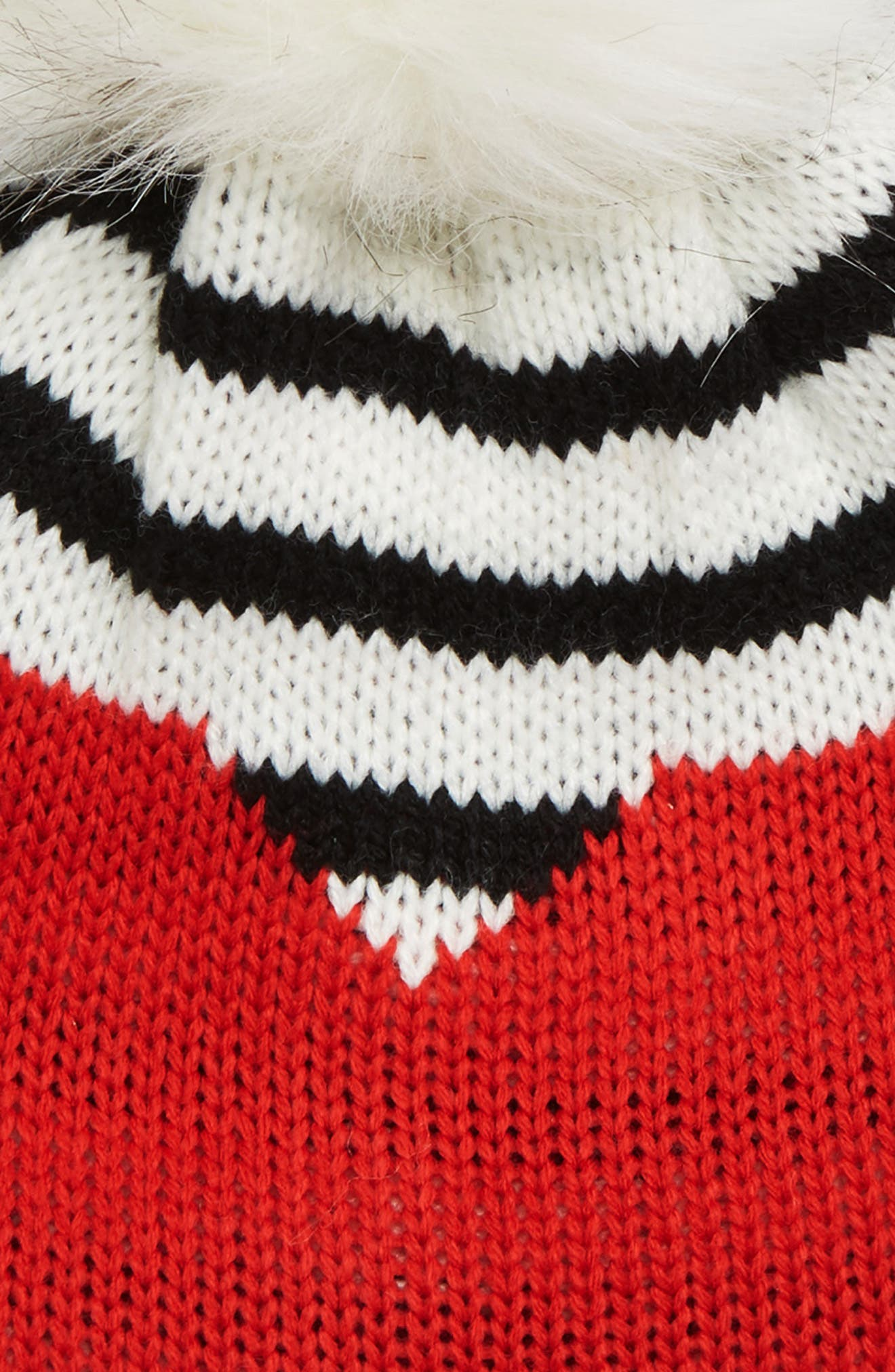 Heart U Stripe Knit Beanie with Faux Fur Pom,                             Alternate thumbnail 2, color,                             900