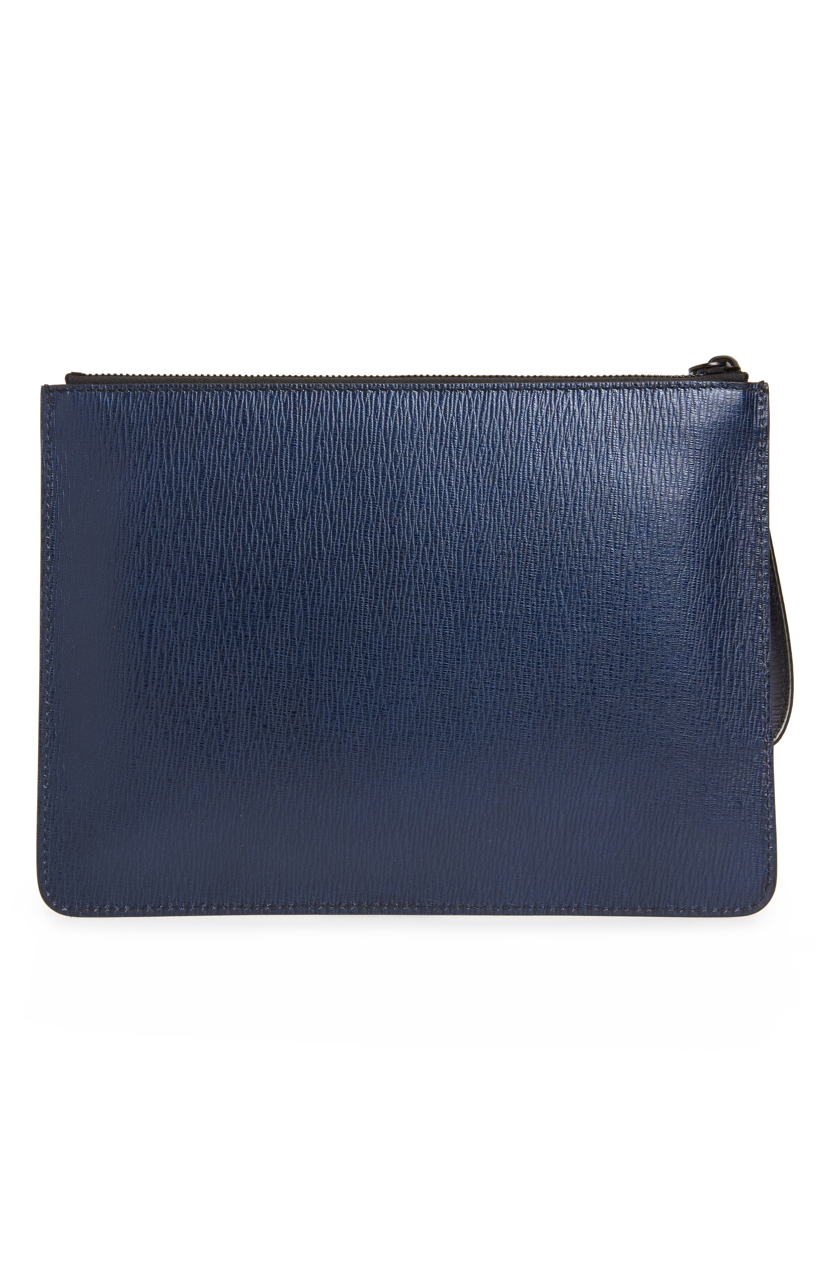 Textured Leather Zip Pouch,                             Alternate thumbnail 2, color,                             NAVY
