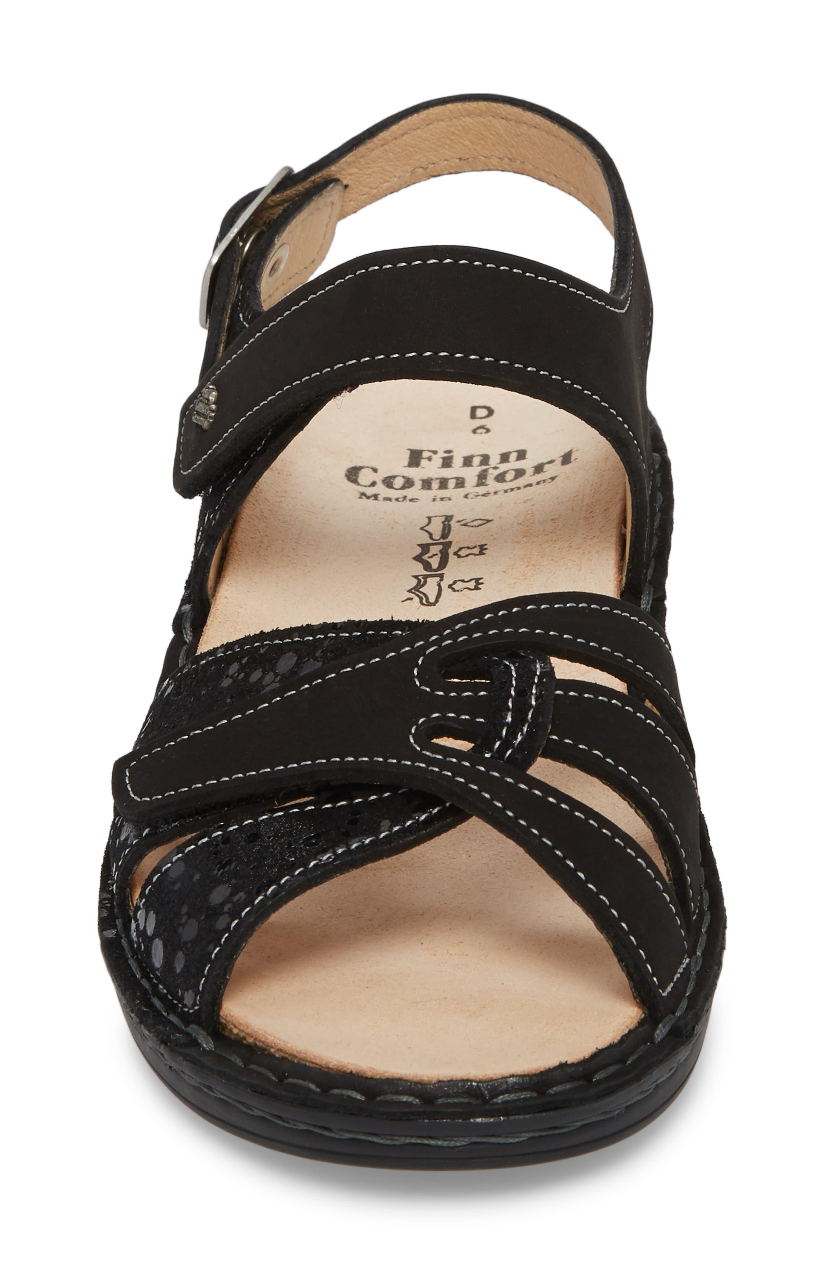 Buka Sandal,                             Alternate thumbnail 4, color,                             BLACK LEATHER