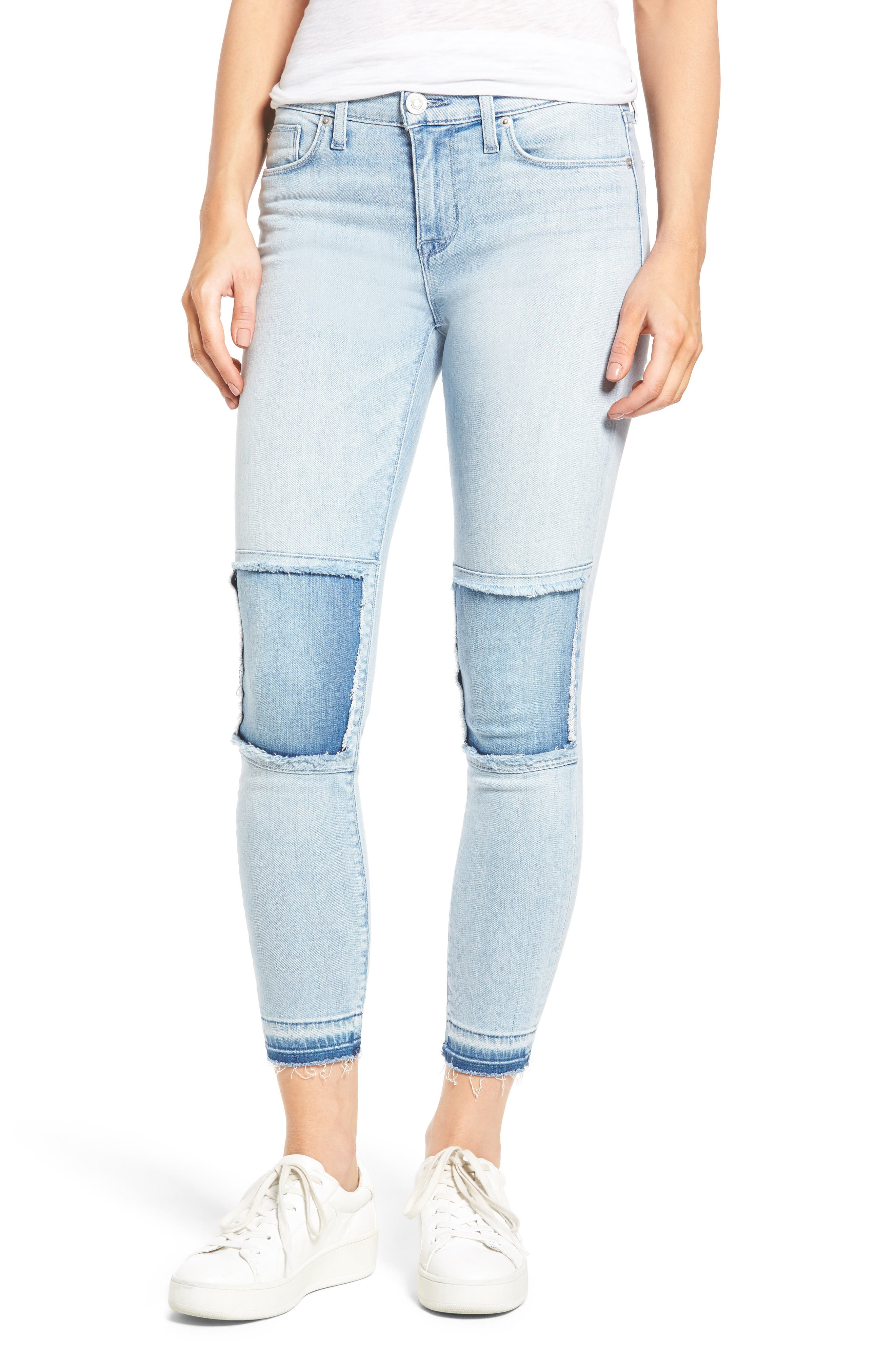 Szzi Mid Rise Patched Skinny Jeans,                             Main thumbnail 1, color,                             455