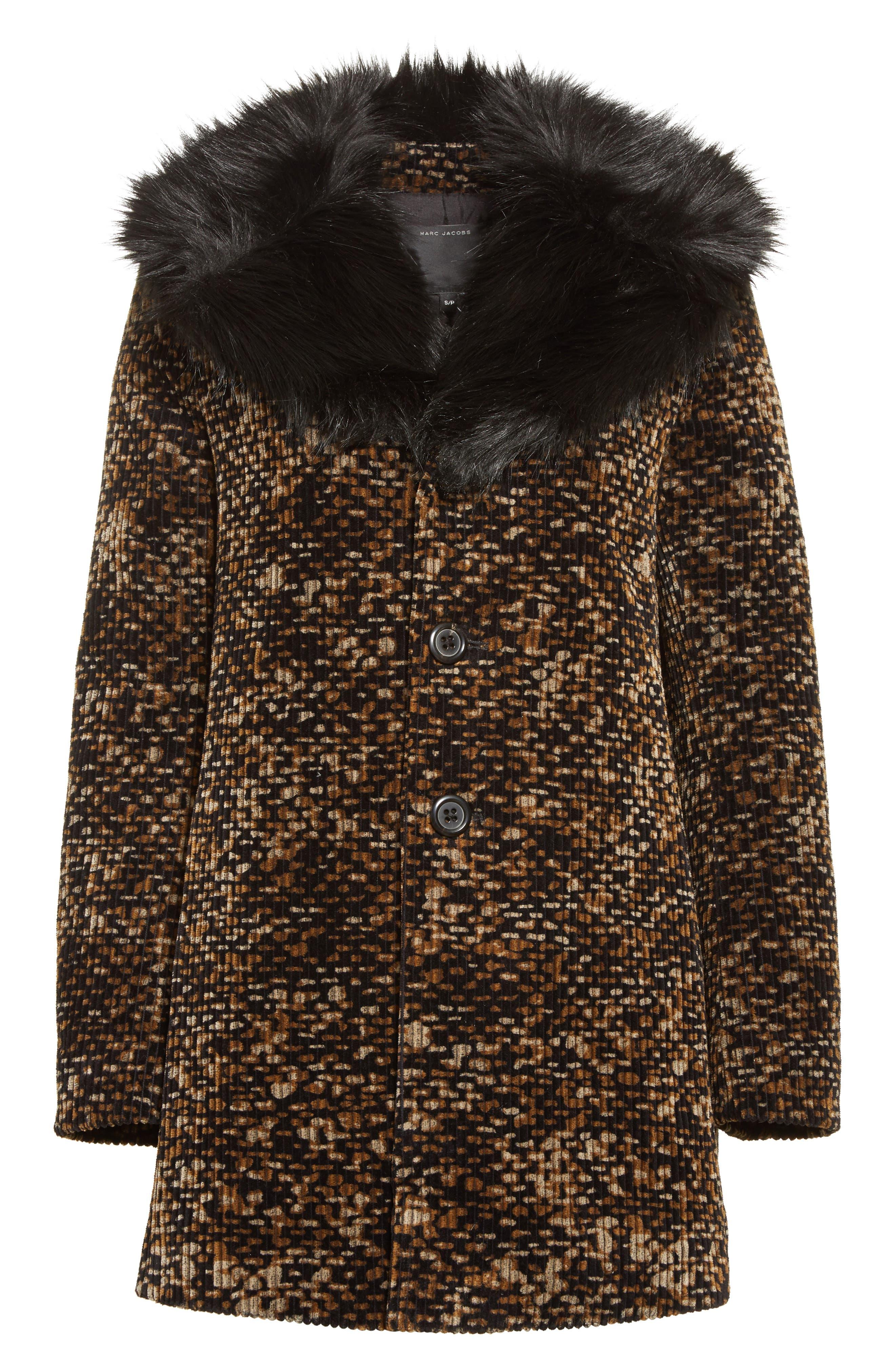 Faux Fur Trim Corduroy Coat,                             Alternate thumbnail 5, color,                             001