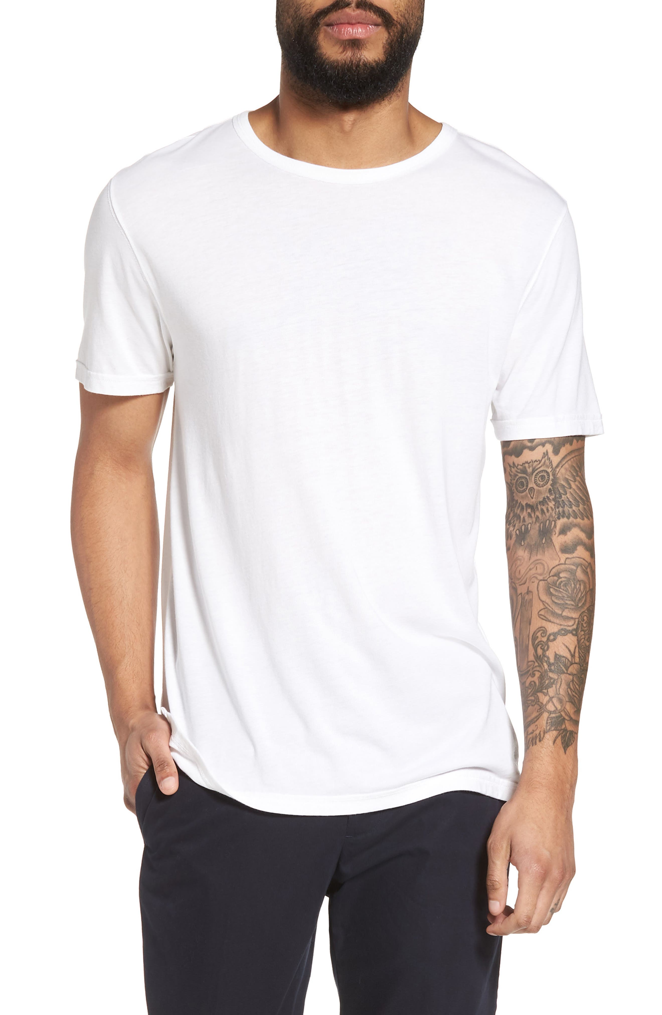 VINCE Reverse Hem Slim Fit T-Shirt, Main, color, 100
