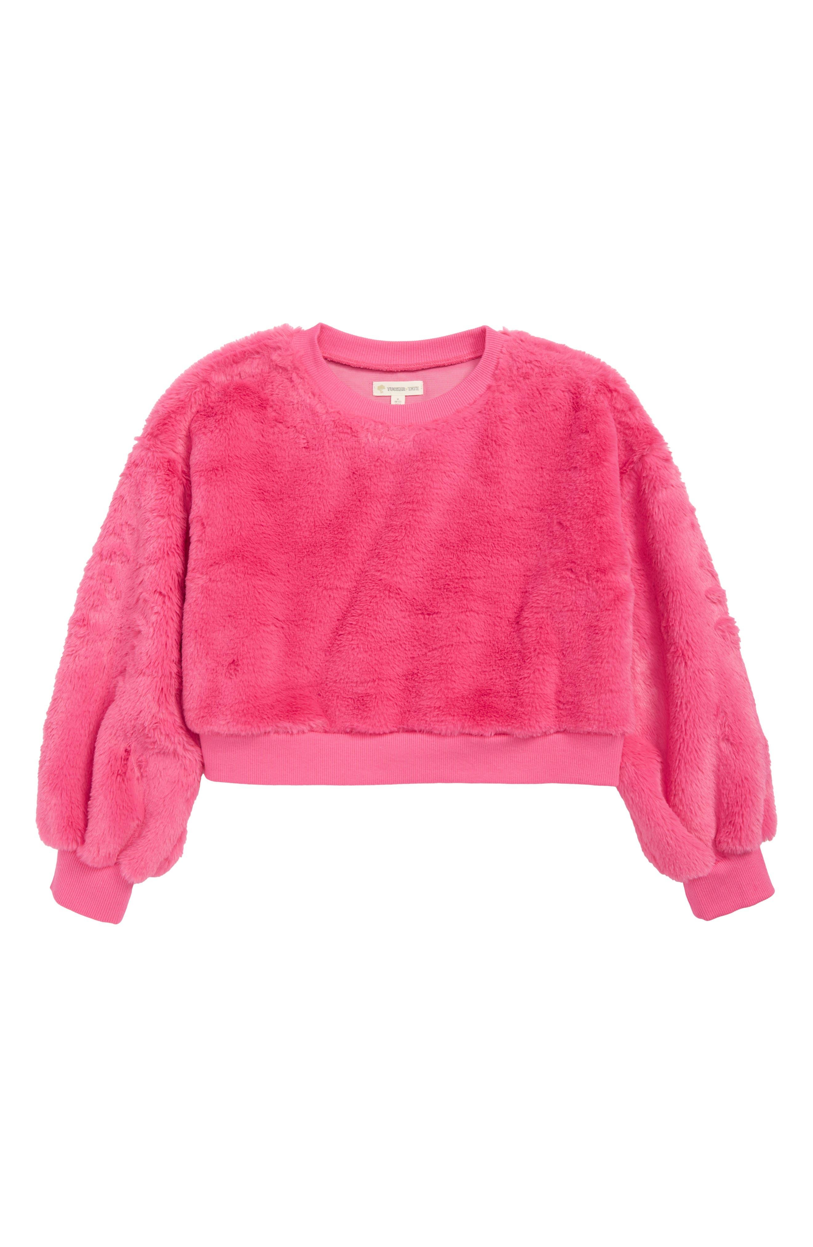Faux Fur Sweatshirt,                         Main,                         color, PINK MAGENTA