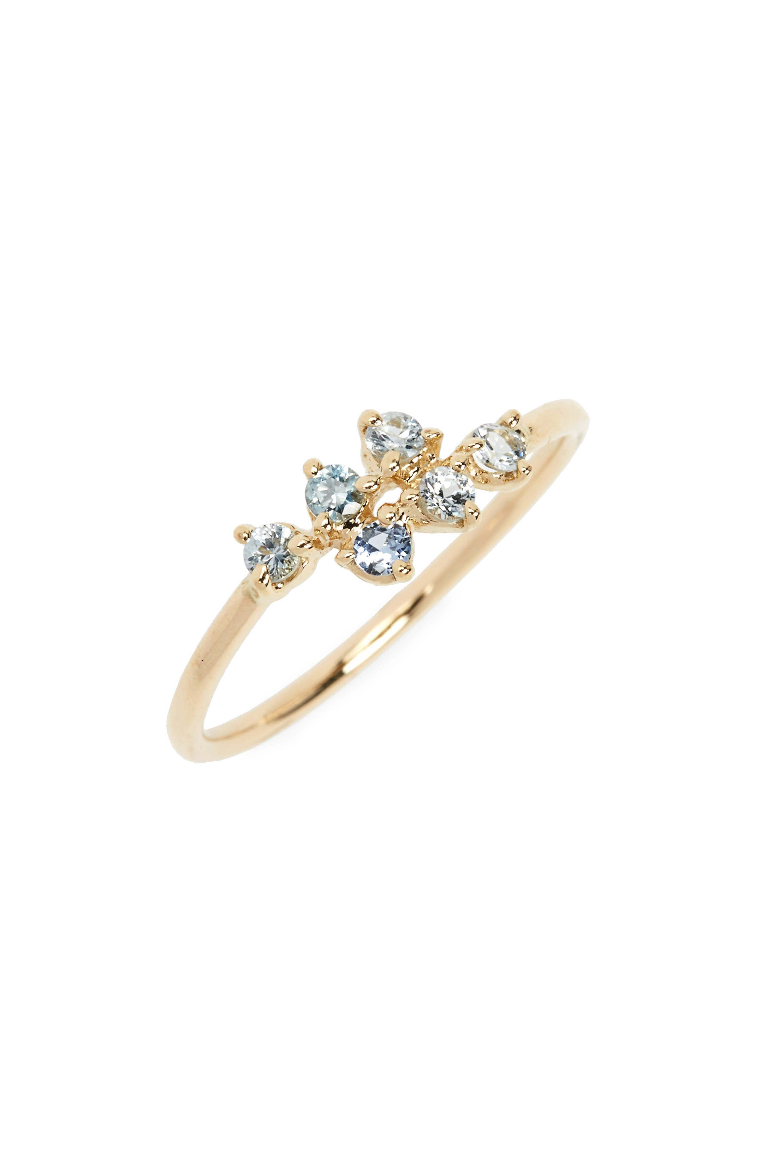 WWAKE Sapphire Mirrored Points Ring, Main, color, SAPPHIRE/ GOLD
