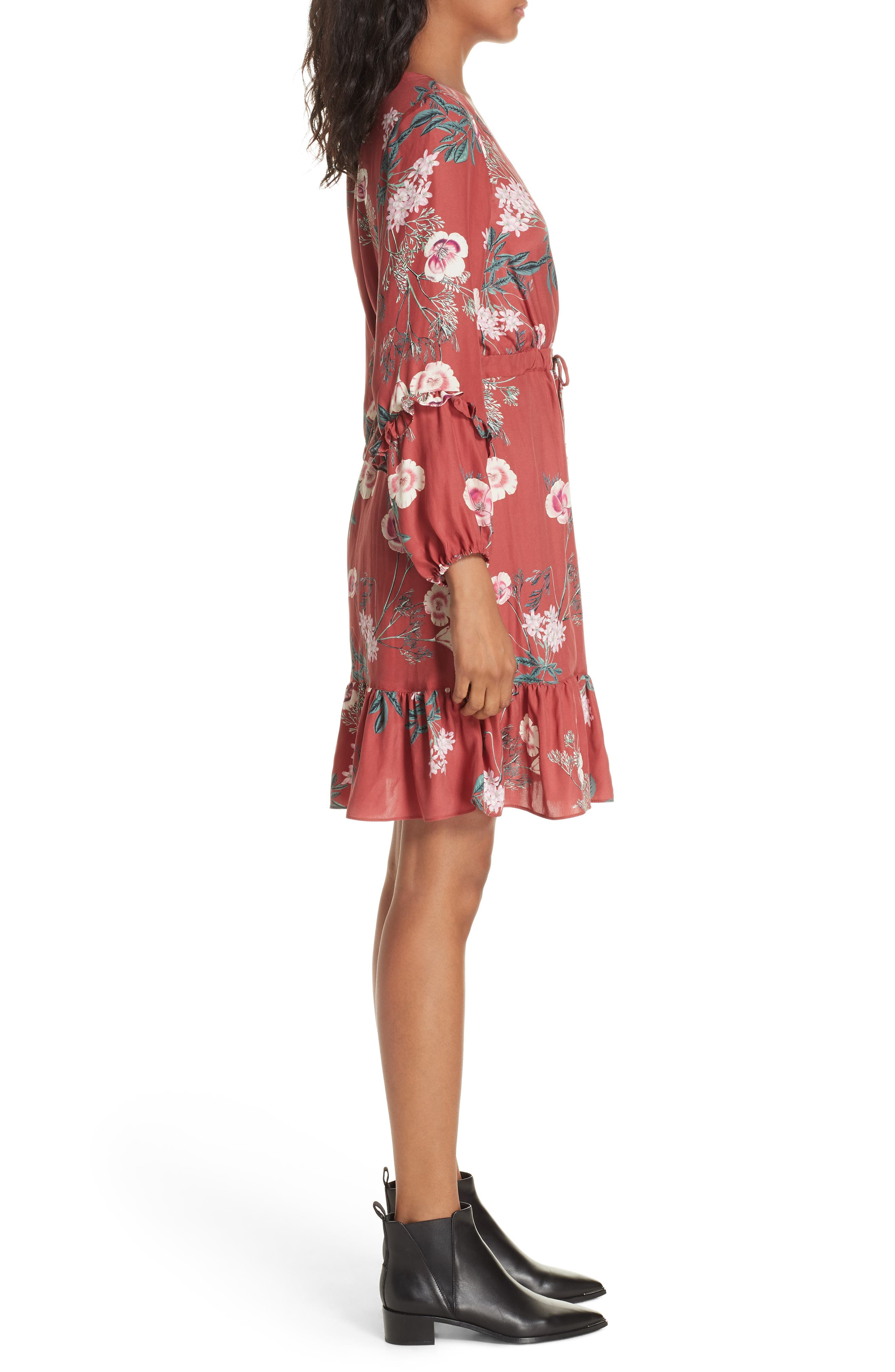 Floral Faux Wrap Silk Dress,                             Alternate thumbnail 3, color,                             RED BLOSSOM FLORAL