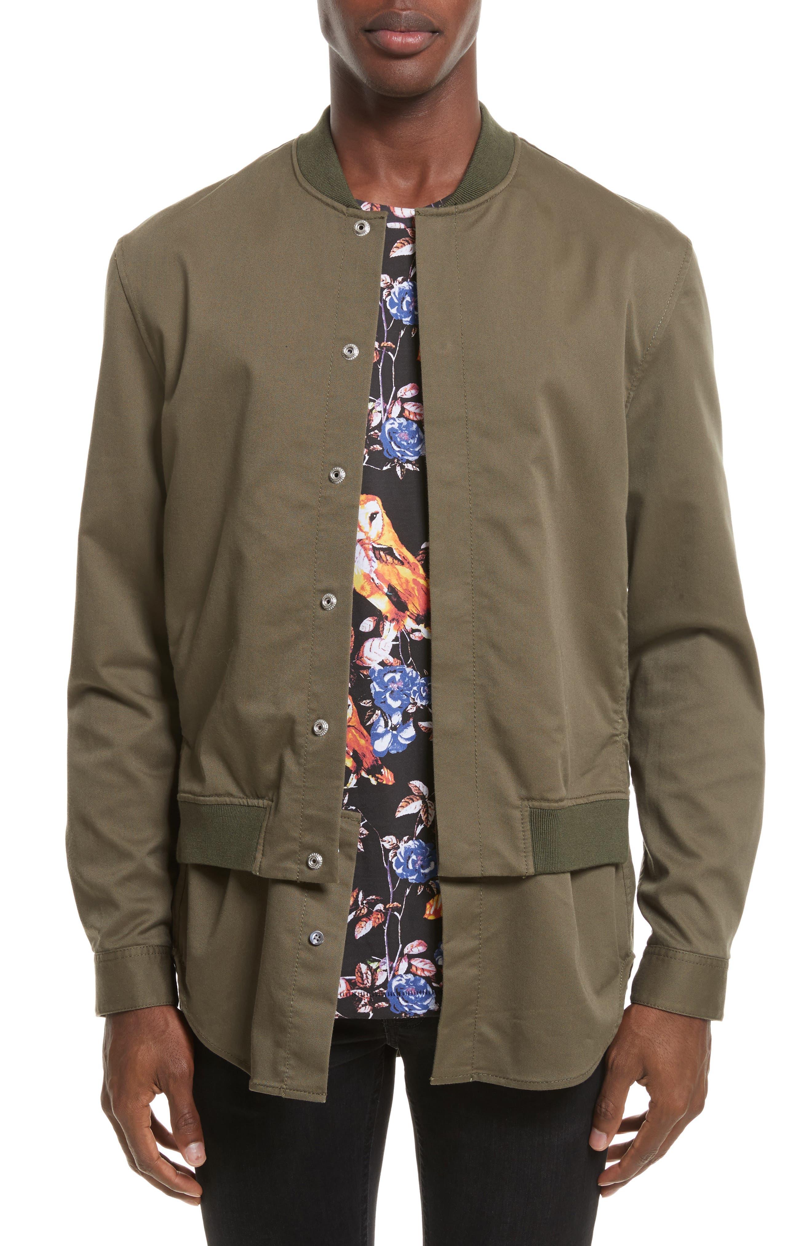 Bomber Shirt Jacket,                         Main,                         color, ARMY