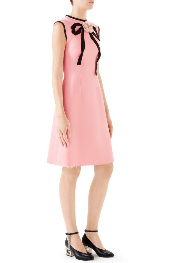 338a9767067 Gucci Cady Crepe Bow A-Line Dress In Pink