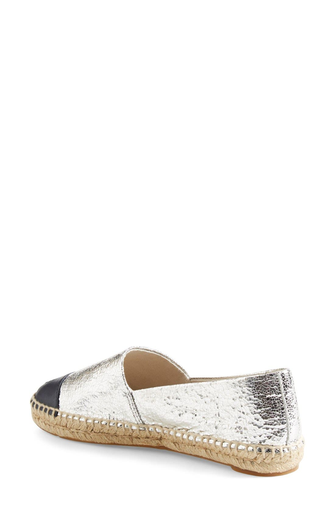 Colorblock Espadrille Flat,                             Alternate thumbnail 8, color,                             SILVER/ TORY NAVY