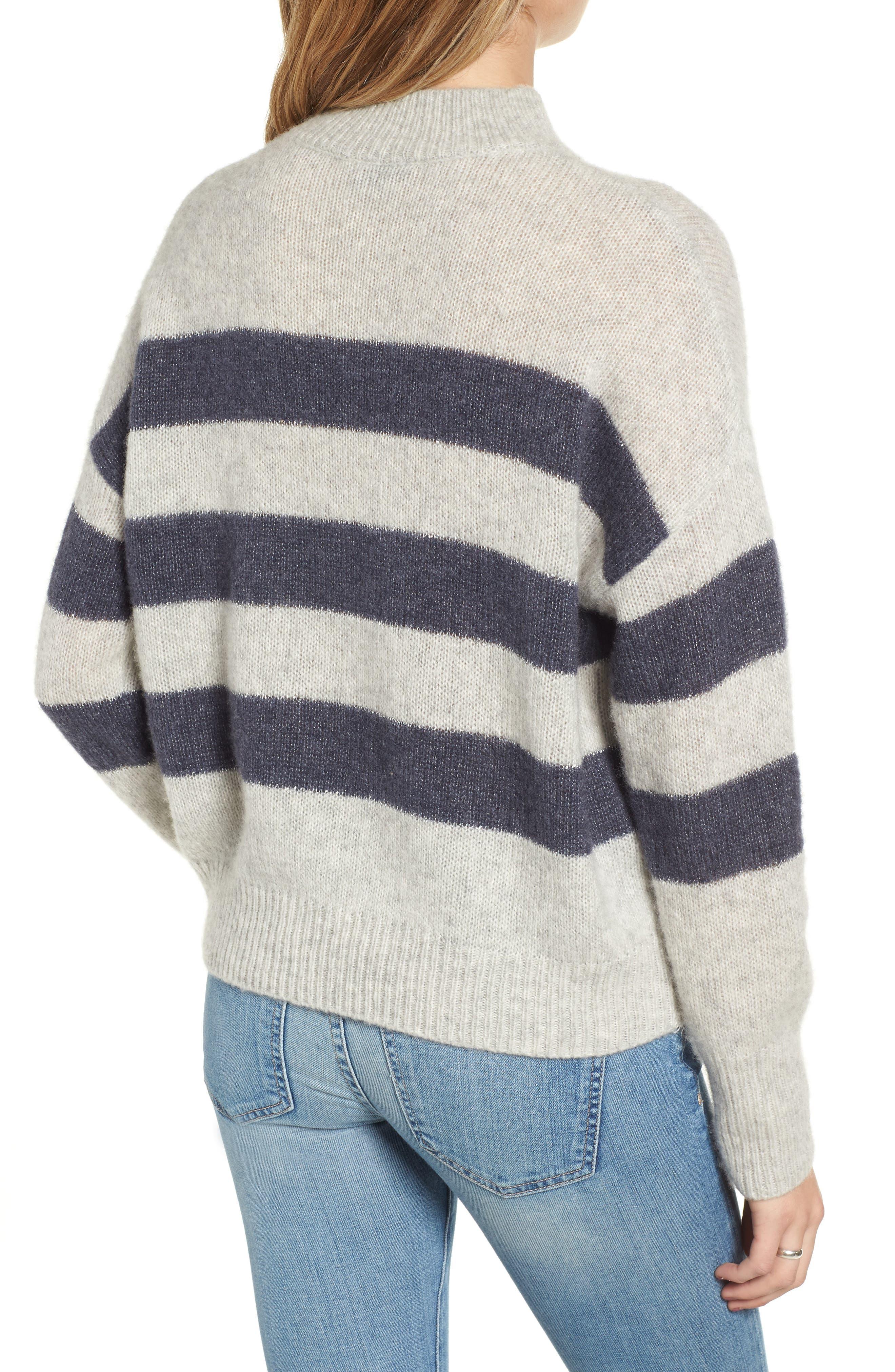 Ellise Stripe Silk & Cashmere Blend Sweater,                             Alternate thumbnail 3, color,                             MIST INDIGO
