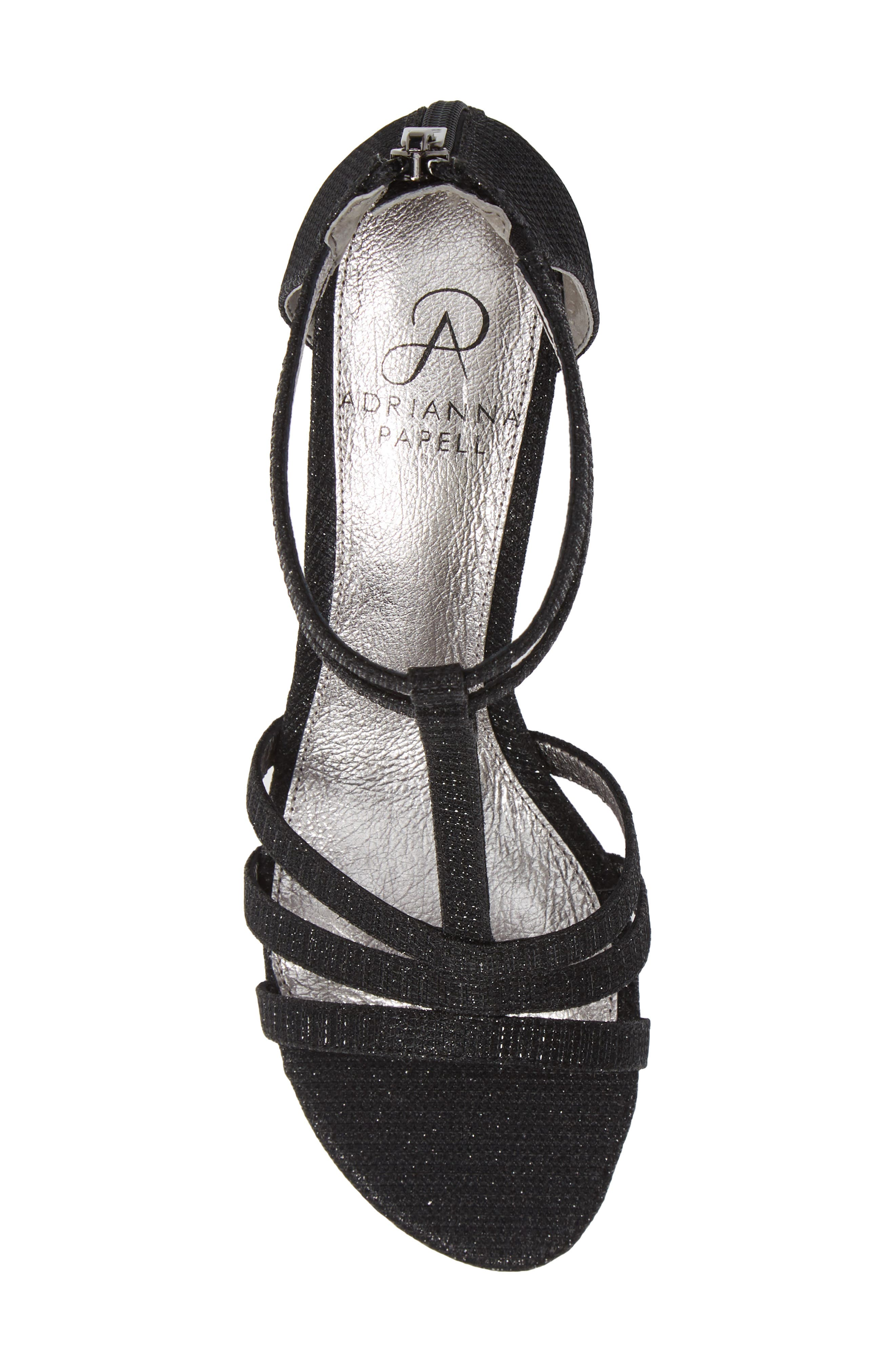 Anella Block Heel Sandal,                             Alternate thumbnail 5, color,                             BLACK GLITTER