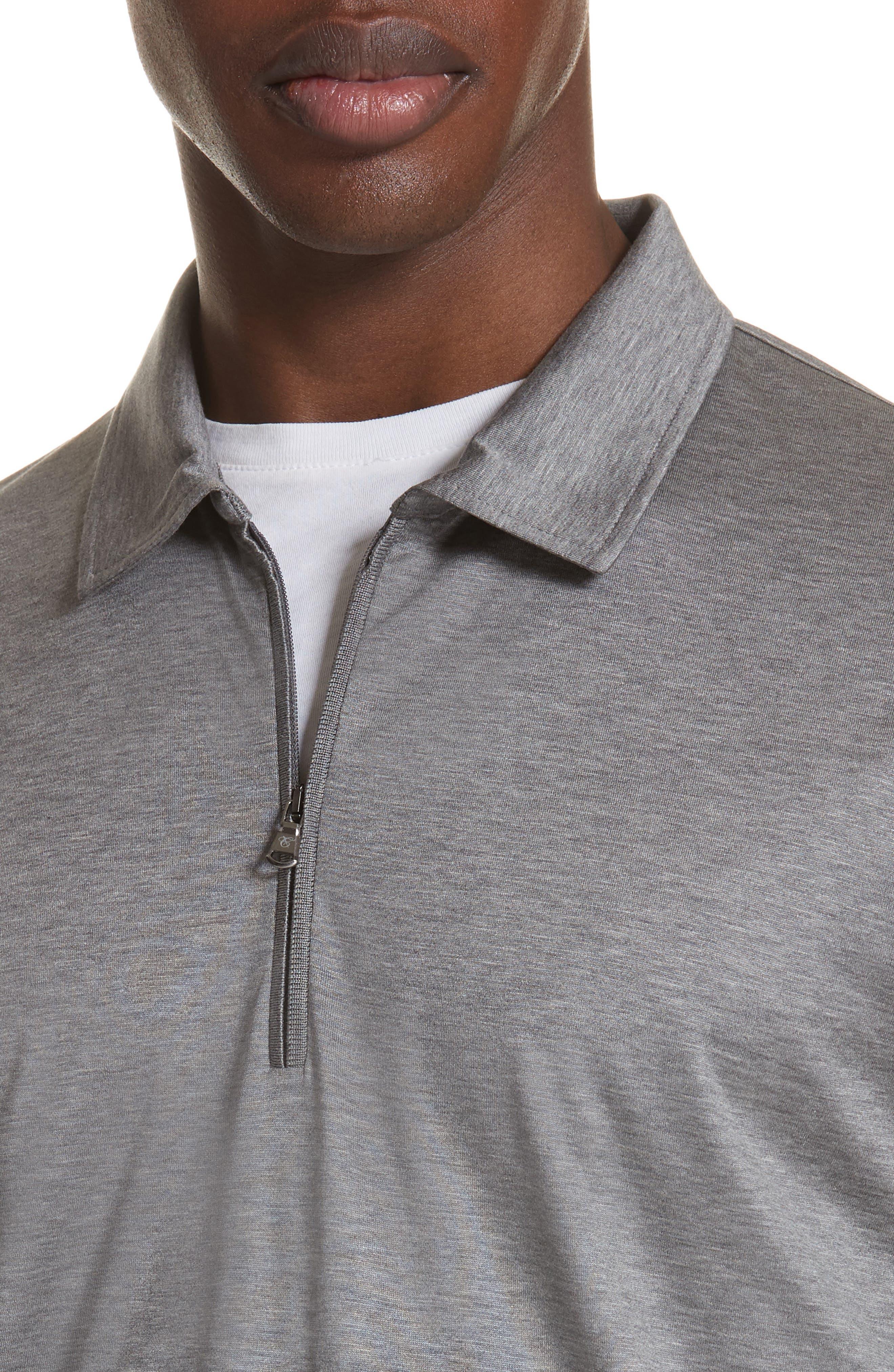 Cotton Quarter Zip Polo Shirt,                             Alternate thumbnail 4, color,                             020