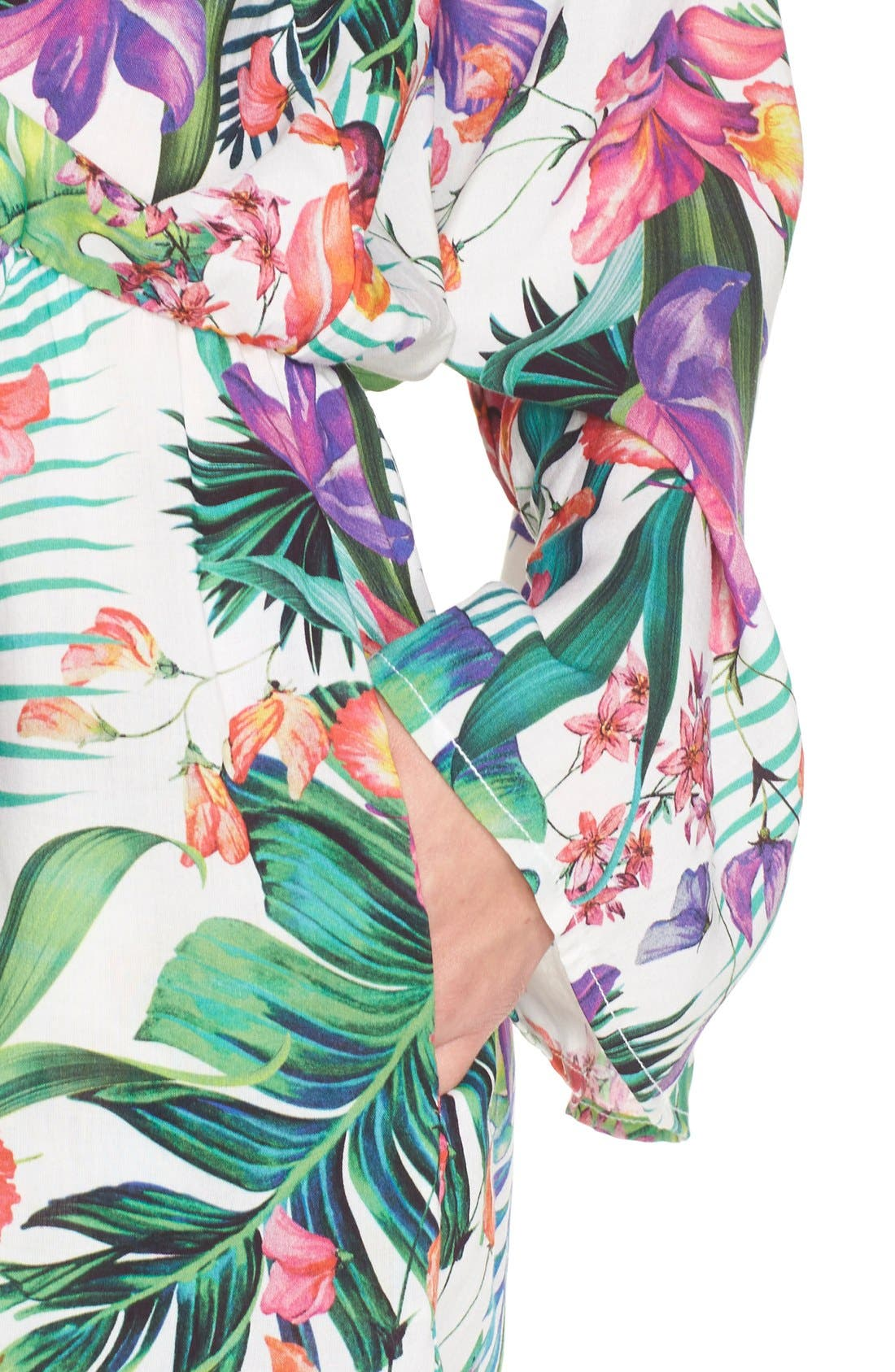 'Calypso Island' Print Cover-Up Romper,                             Alternate thumbnail 2, color,                             100