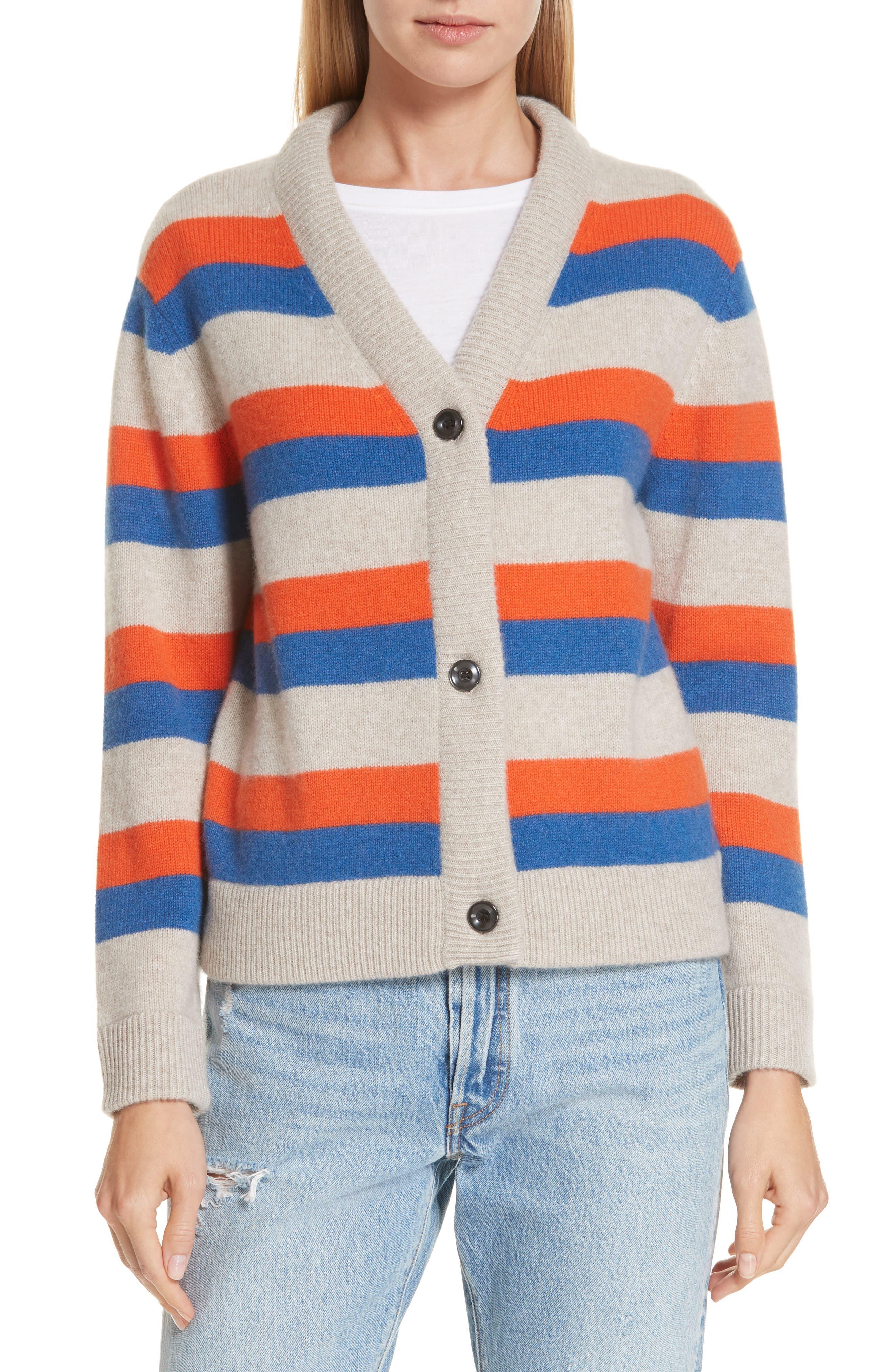 The Remus Stripe Cashmere Cardigan,                             Main thumbnail 1, color,                             SAND