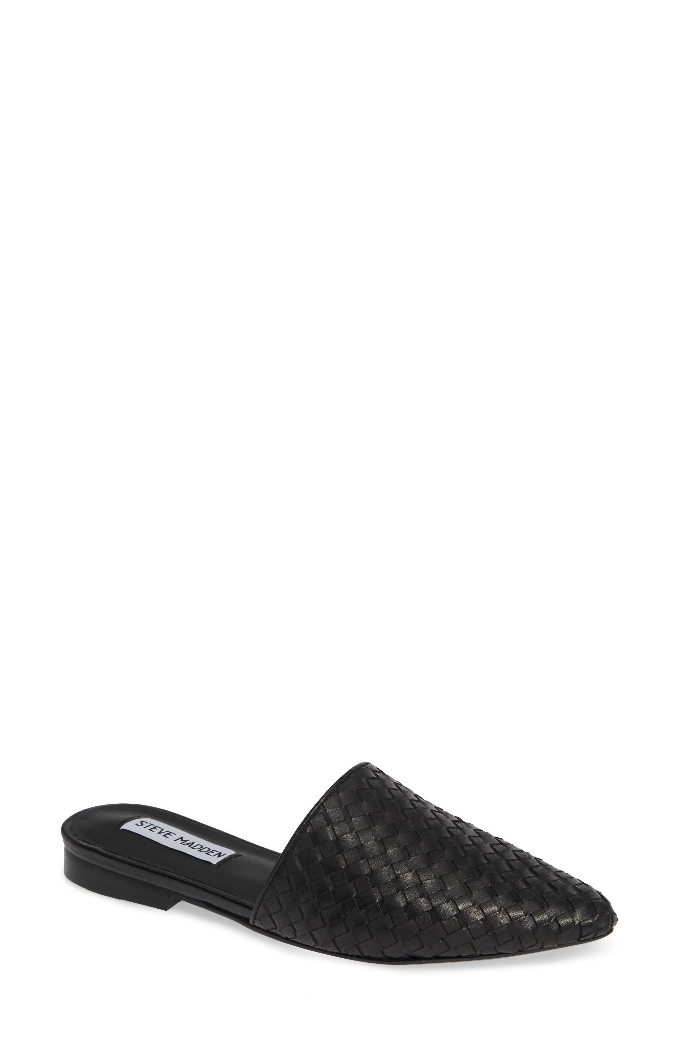 Timid Woven Mule,                             Main thumbnail 1, color,                             BLACK LEATHER