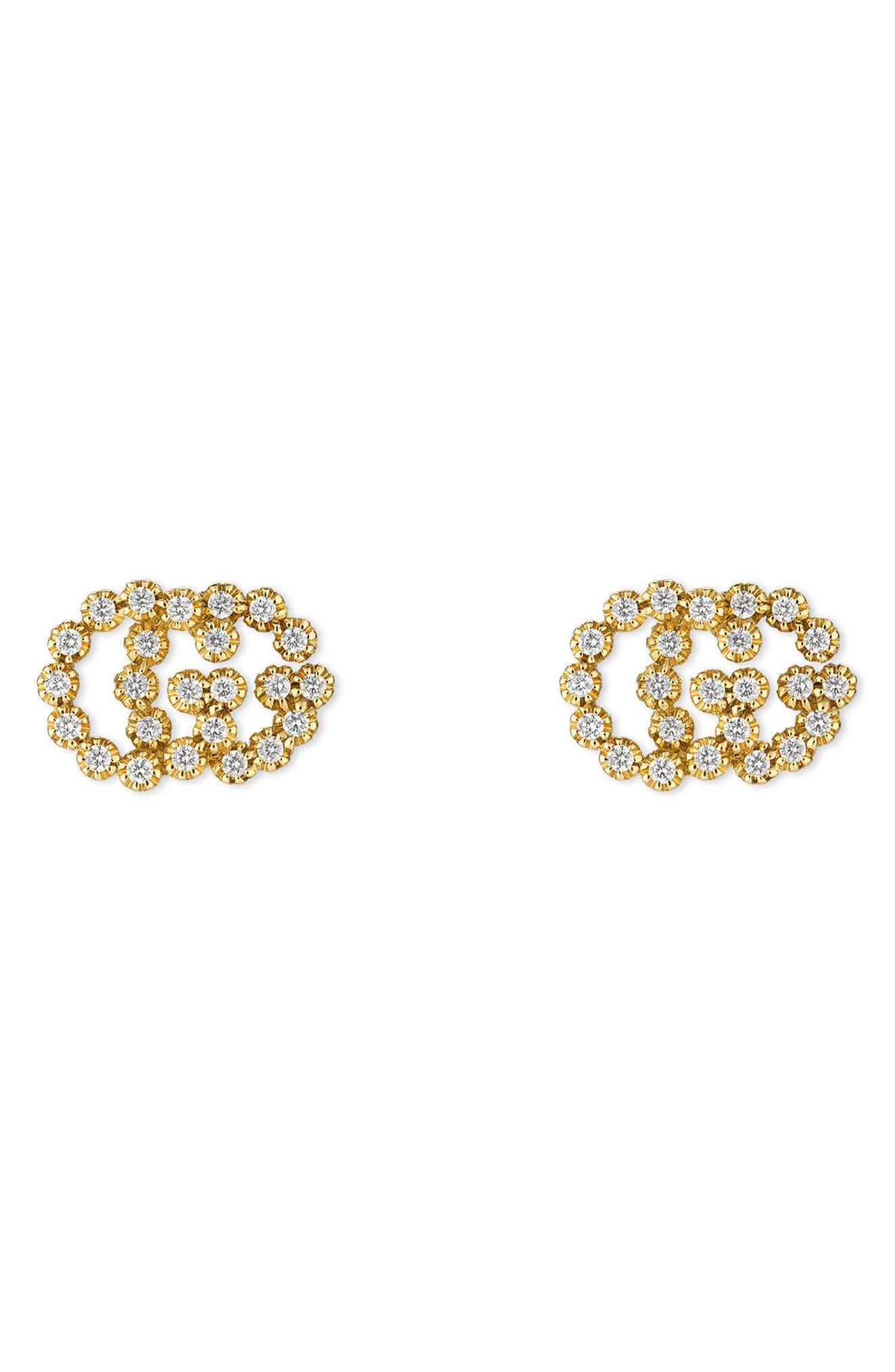 Double-G Diamond Stud Earrings,                         Main,                         color, YELLOW GOLD