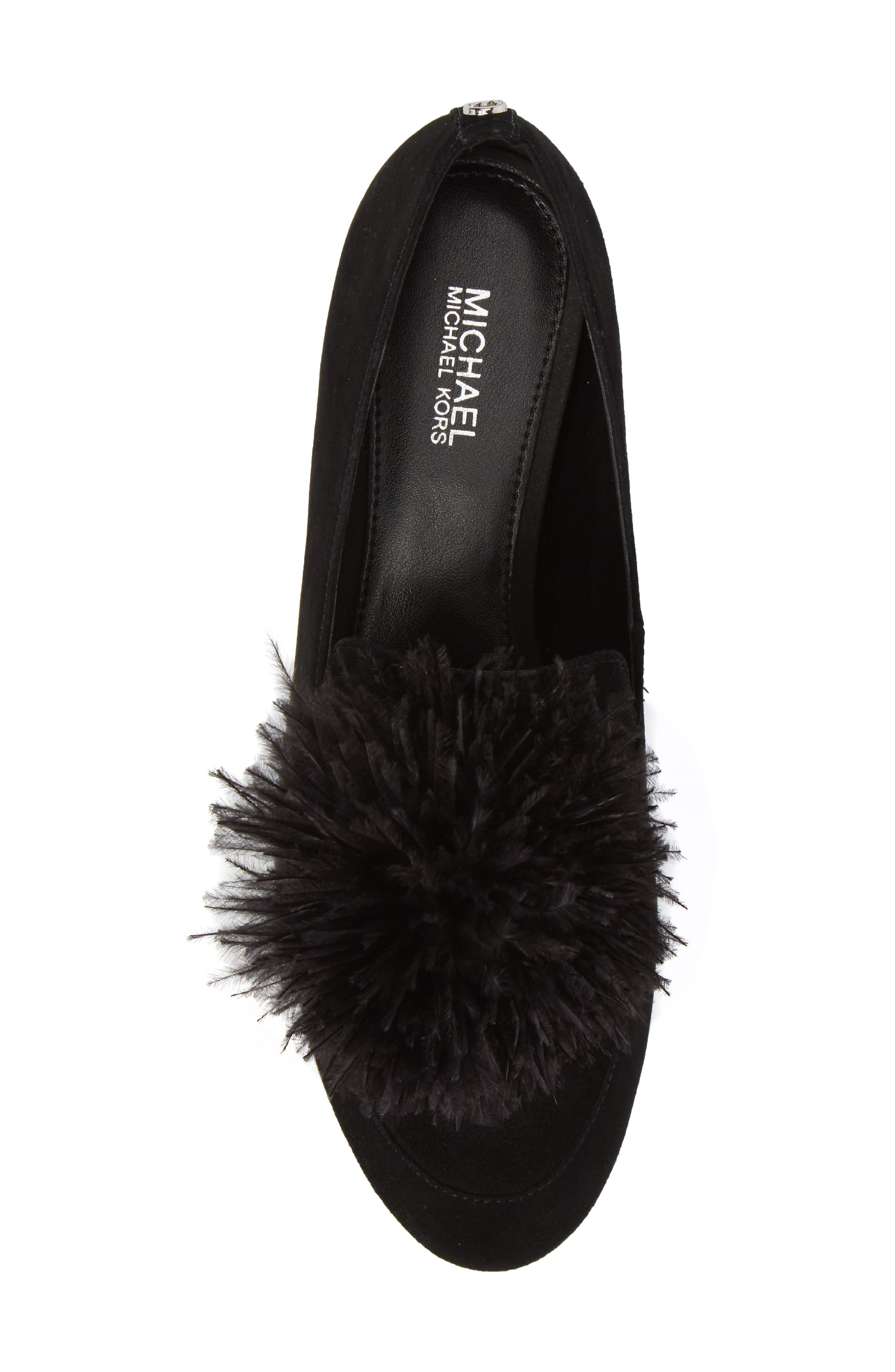 Fara Feather Pom Loafer,                             Alternate thumbnail 5, color,                             001