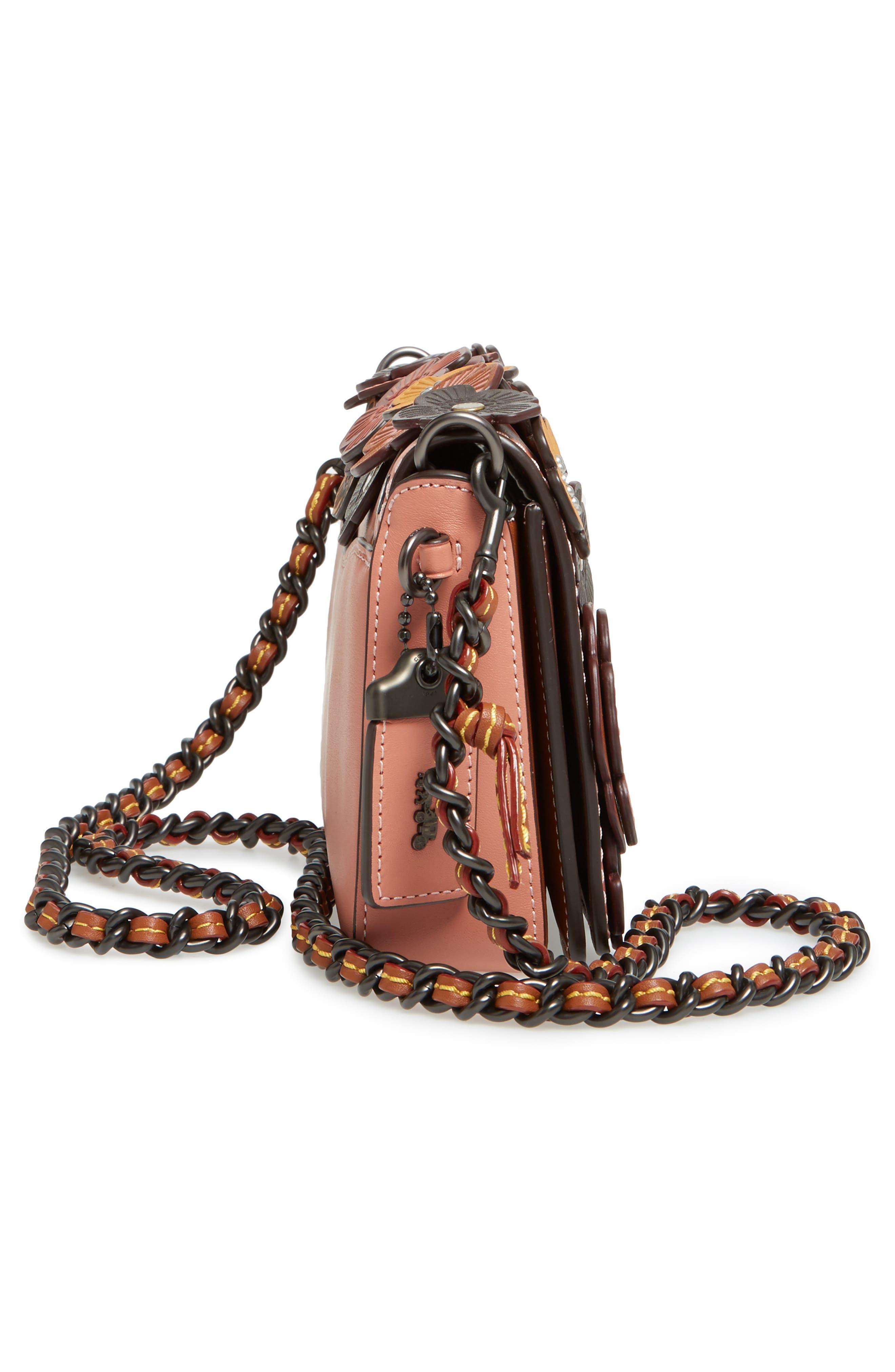 'Dinky' Flower Appliqué Leather Crossbody Bag,                             Alternate thumbnail 40, color,