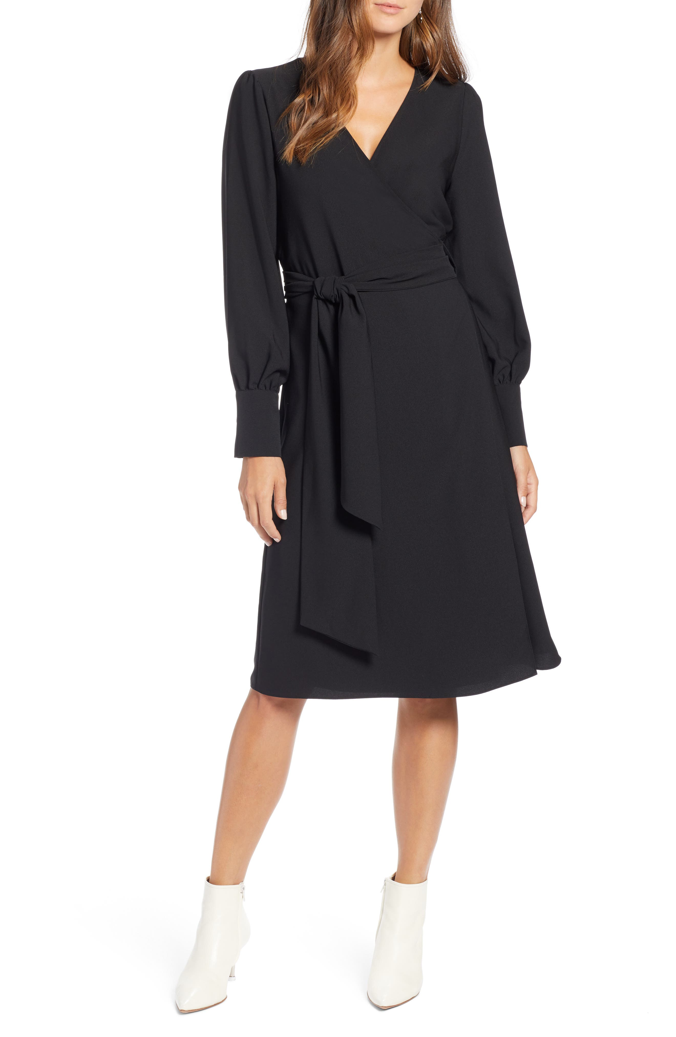 Petite Halogen Wrap Dress, Black