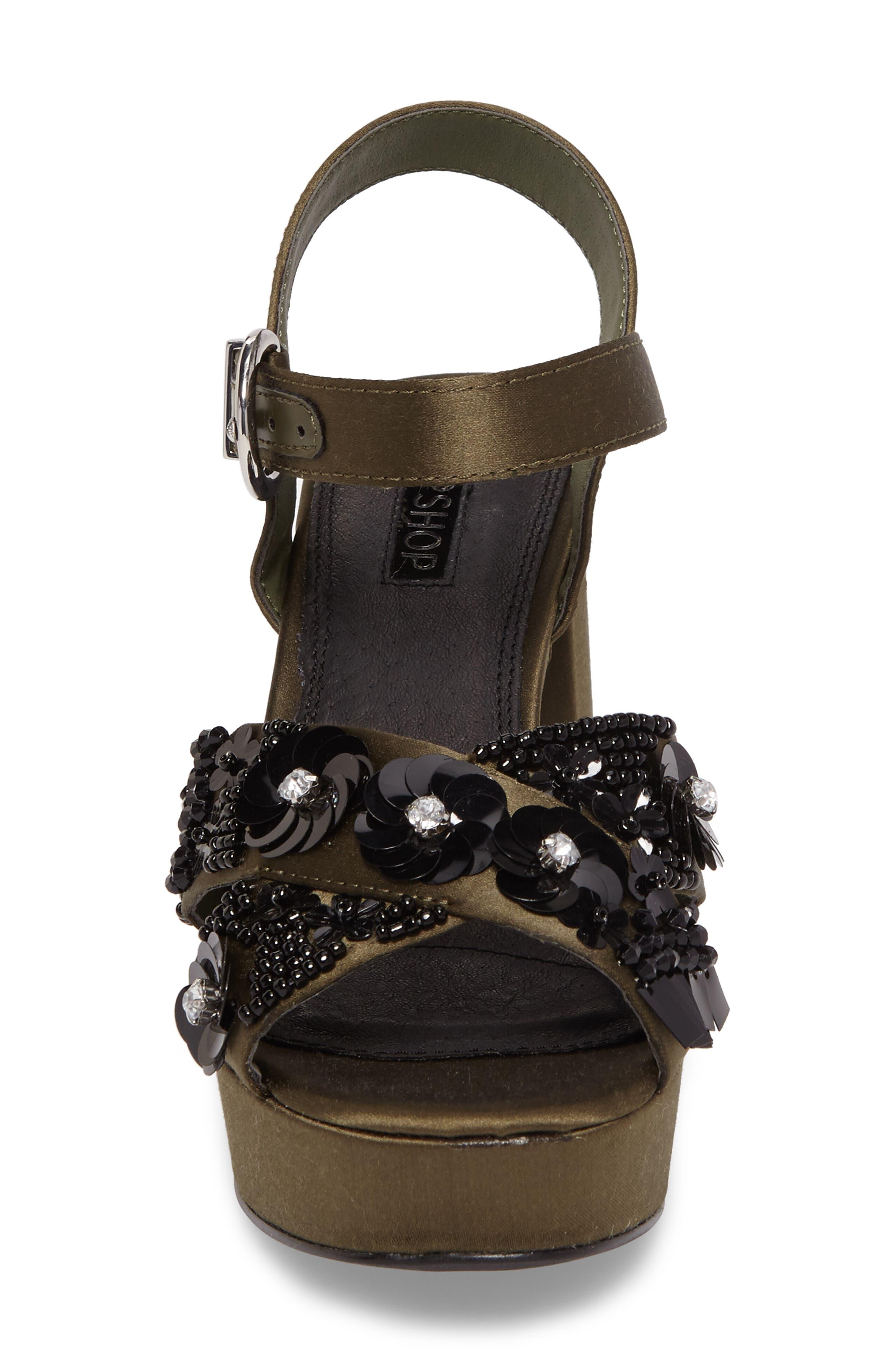 Lotus Embellished Platform Sandal,                             Alternate thumbnail 4, color,                             301