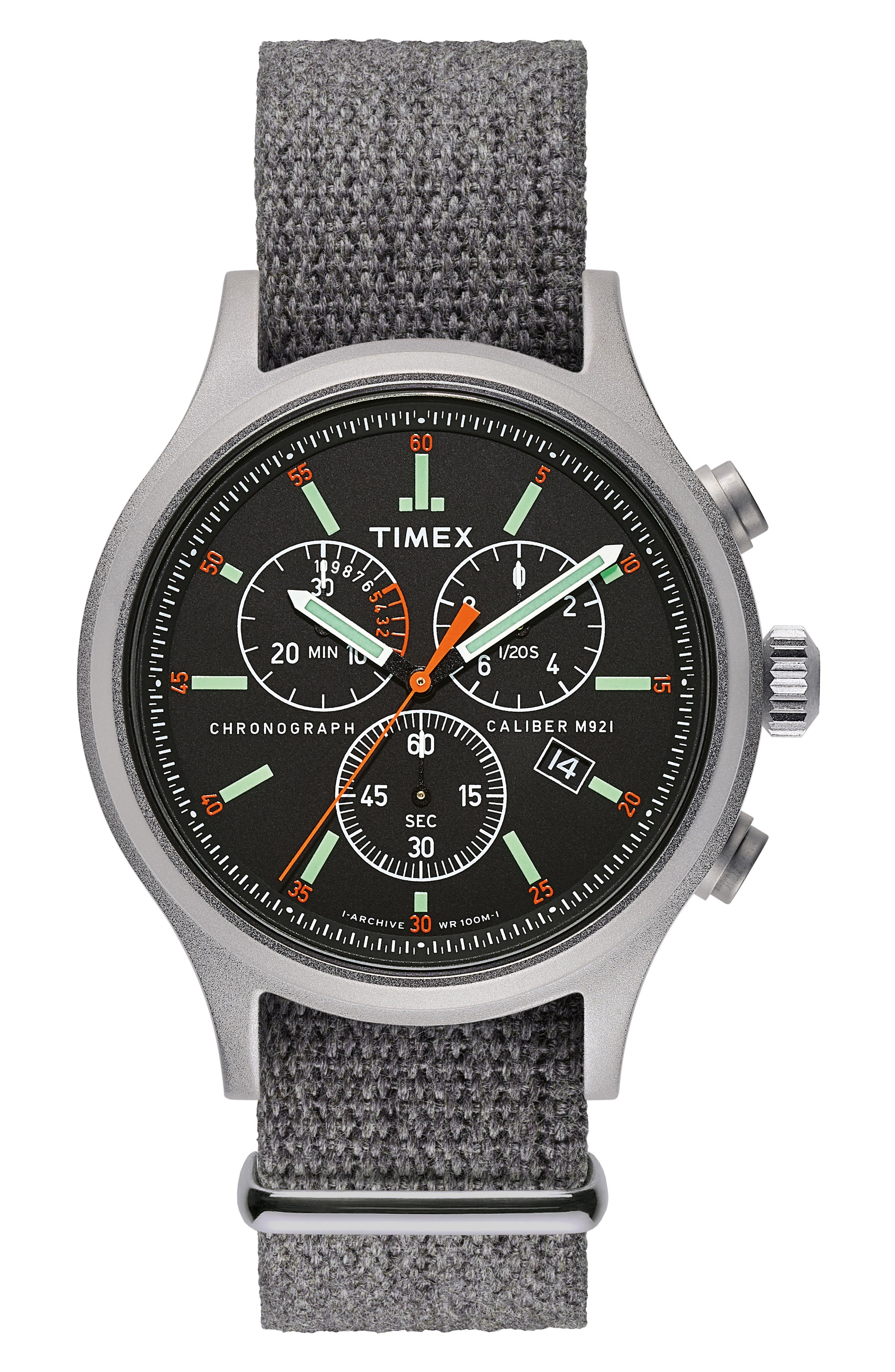 Timex<sup>®</sup> Allied Chronograph Woven Strap Watch, 41mm,                         Main,                         color, SILVER/ BLACK/ GREY
