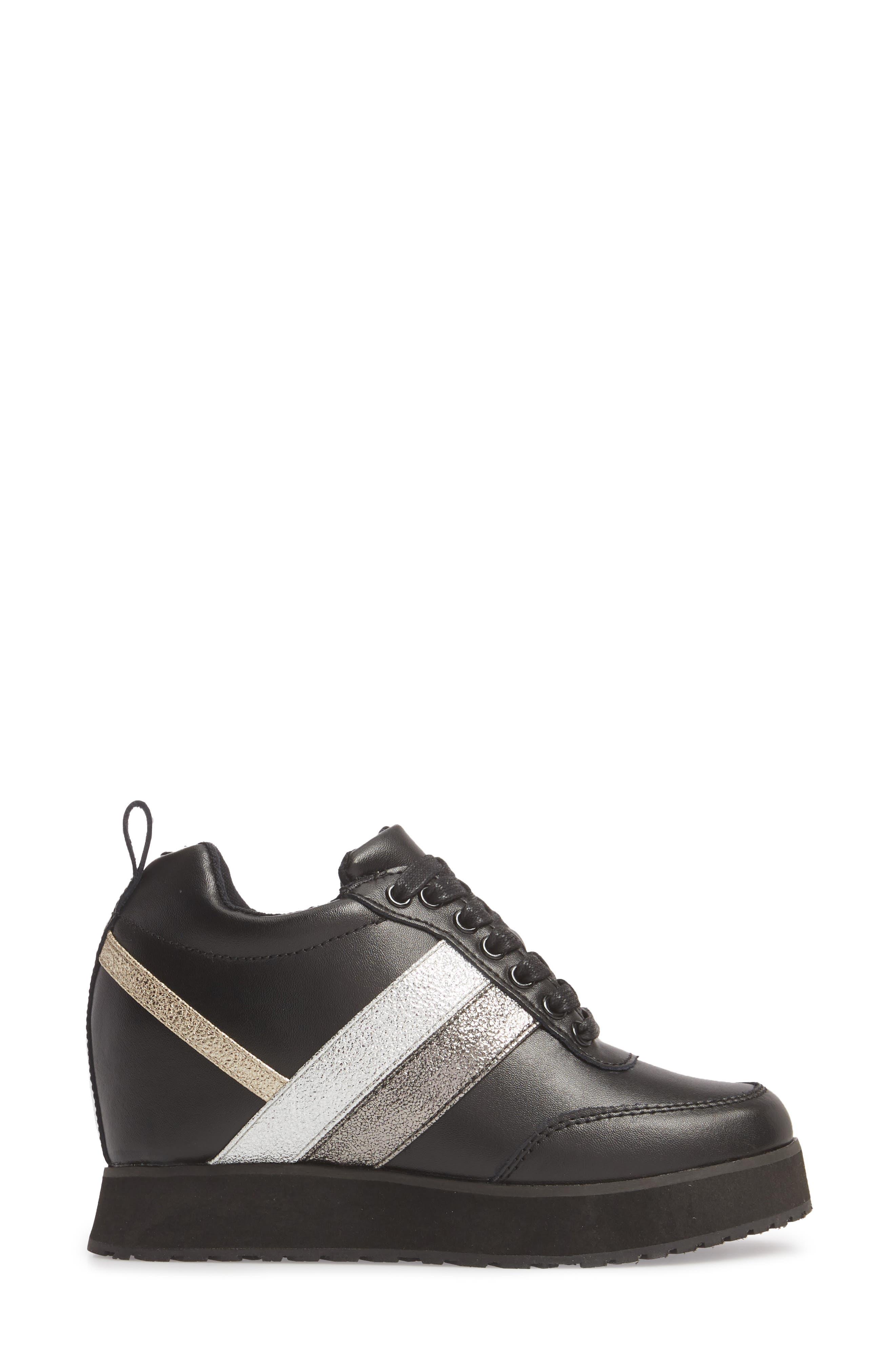 Sarita Hidden Wedge Sneaker,                             Alternate thumbnail 3, color,                             BLACK