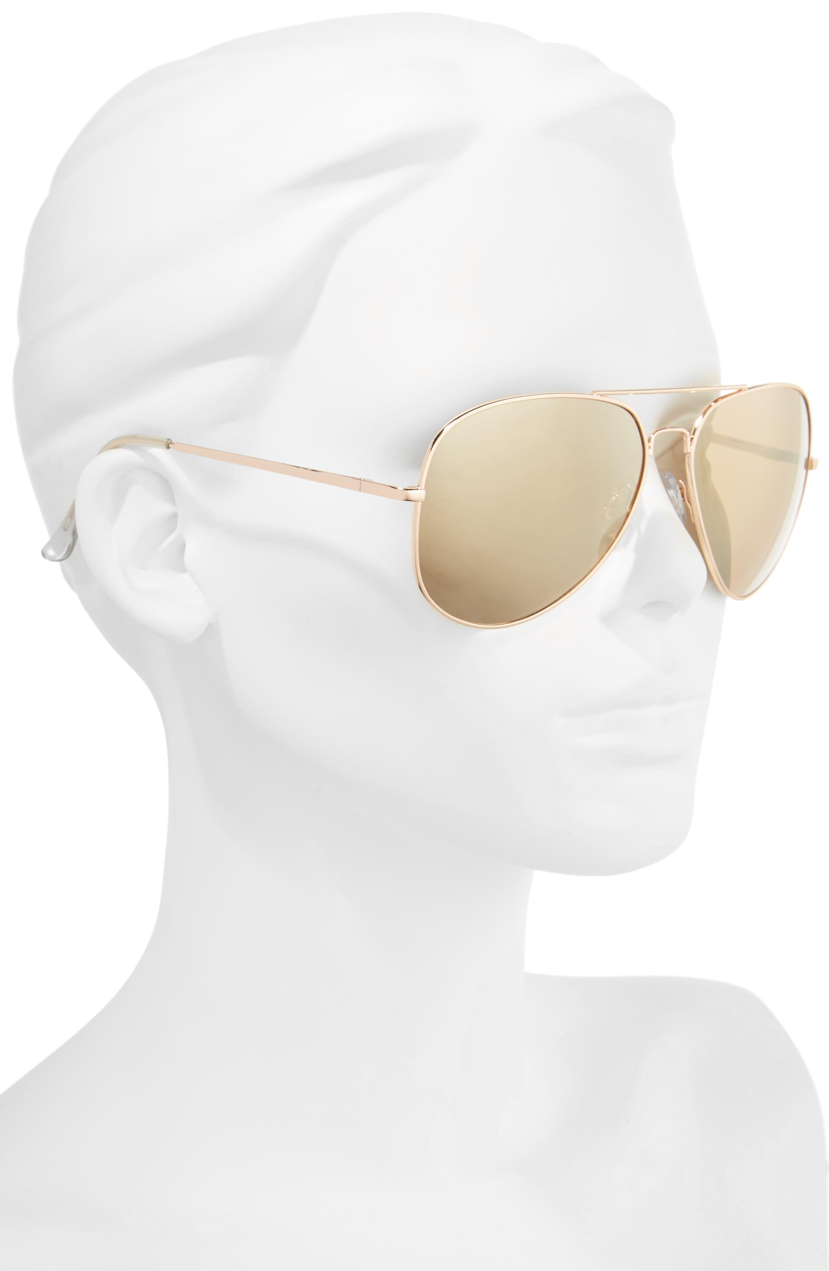 60mm Large Aviator Sunglasses,                             Alternate thumbnail 4, color,
