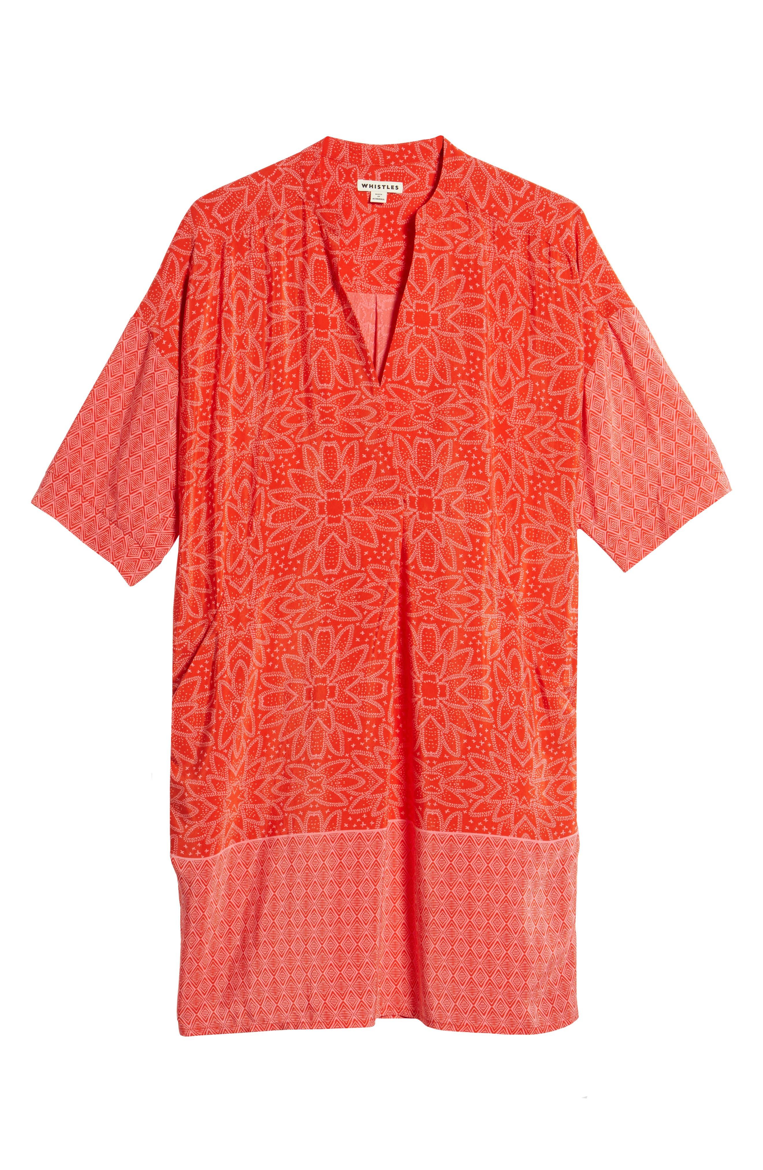 Luna Riya Print Dress,                             Alternate thumbnail 6, color,                             RED/ MULTI