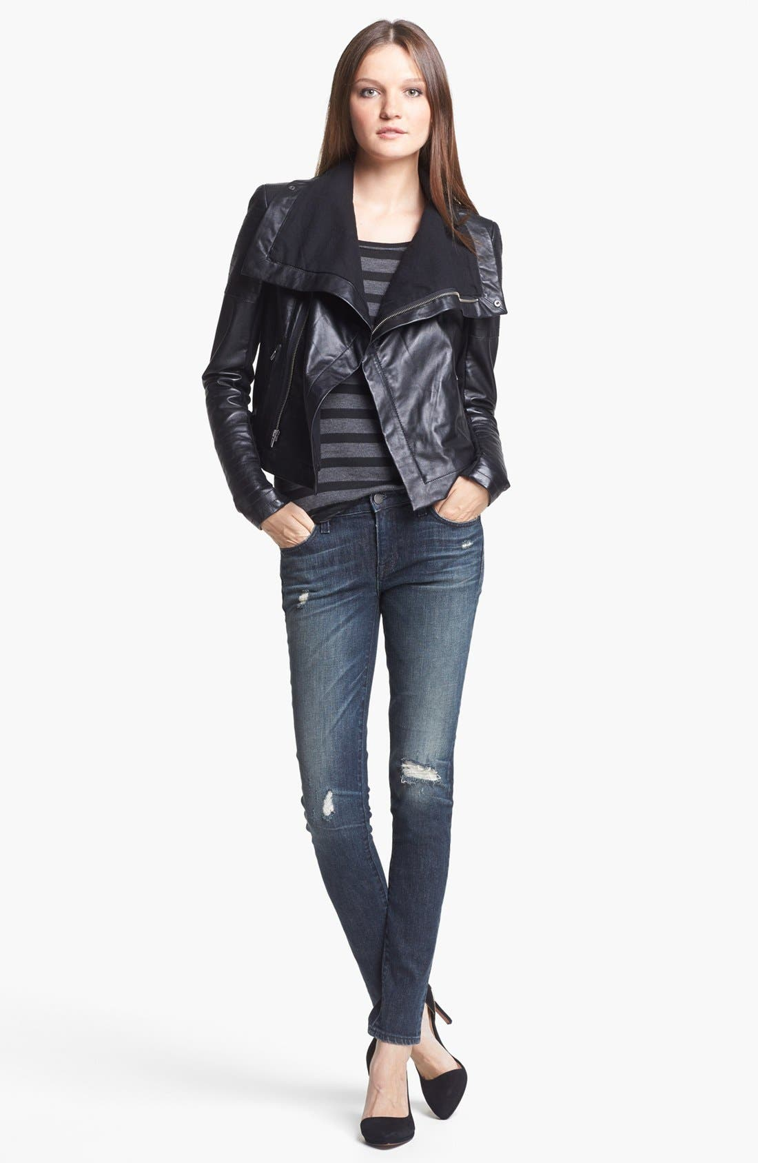 VEDA,                             'Max' Leather Moto Jacket,                             Alternate thumbnail 4, color,                             001