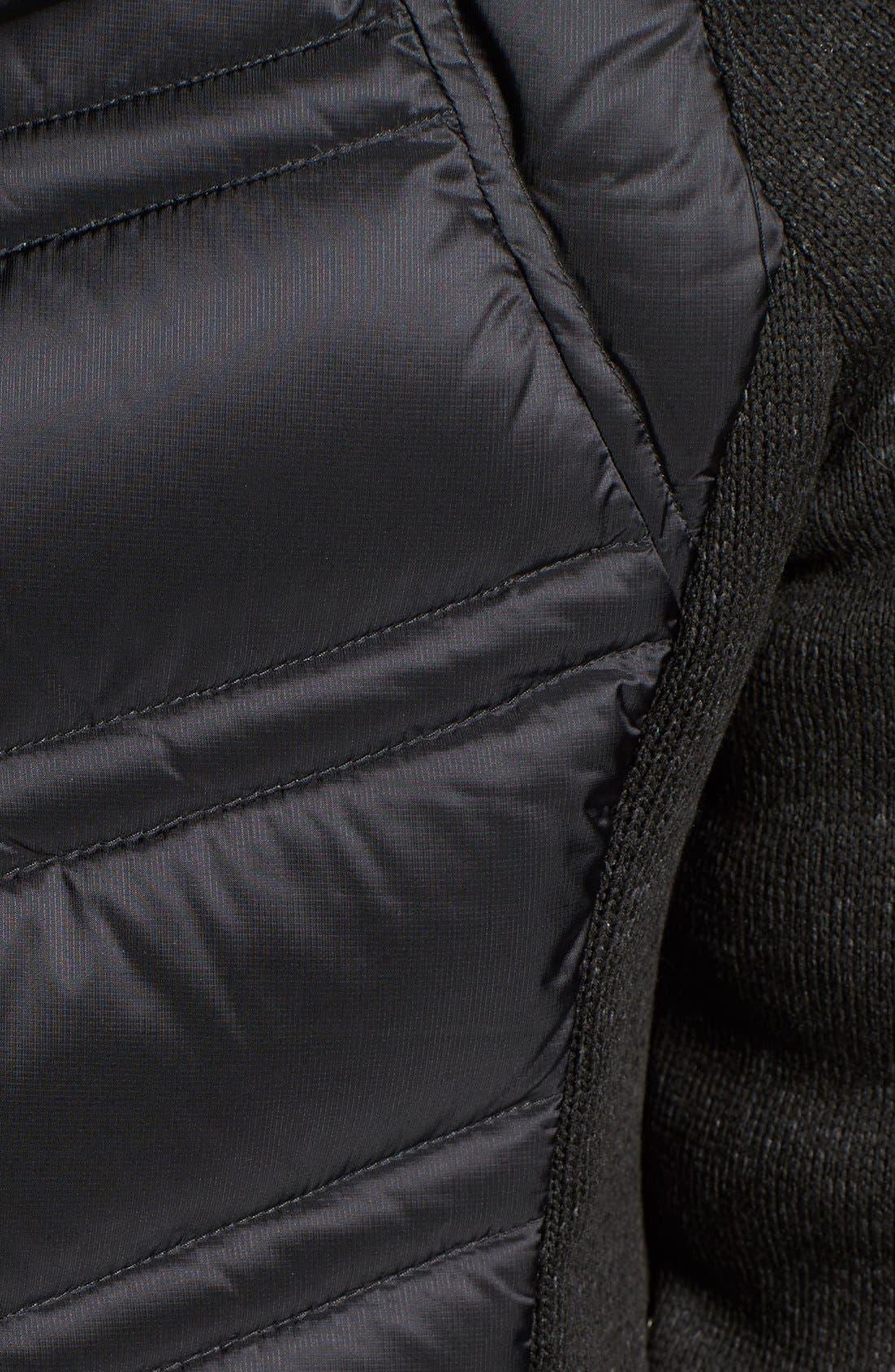 MICHAEL MICHAEL KORS,                             Mixed Media Hooded Down Jacket,                             Alternate thumbnail 5, color,                             001