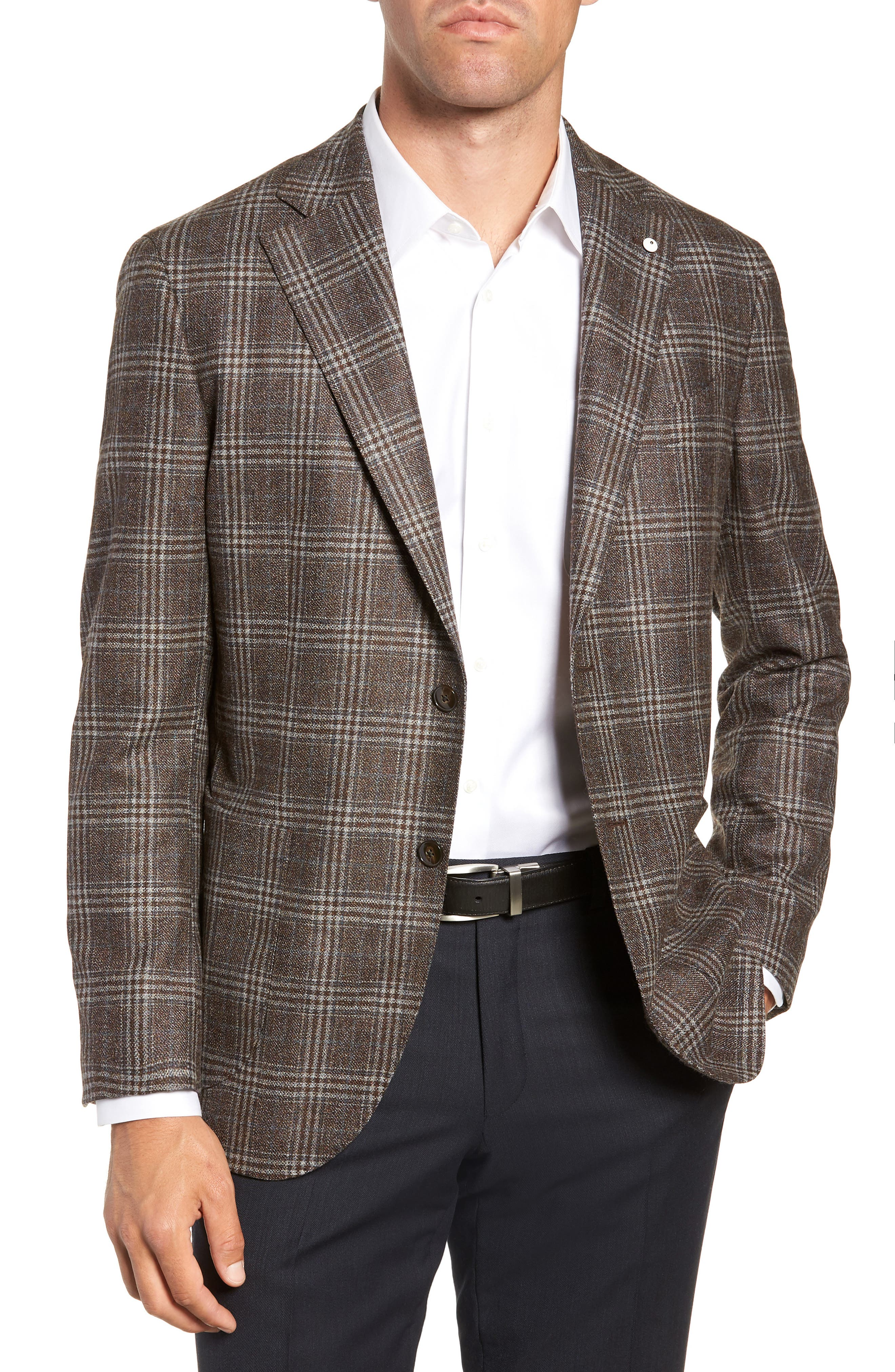 L.B.M 1911 Classic Fit Plaid Wool Sport Coat,                             Main thumbnail 1, color,                             BROWN