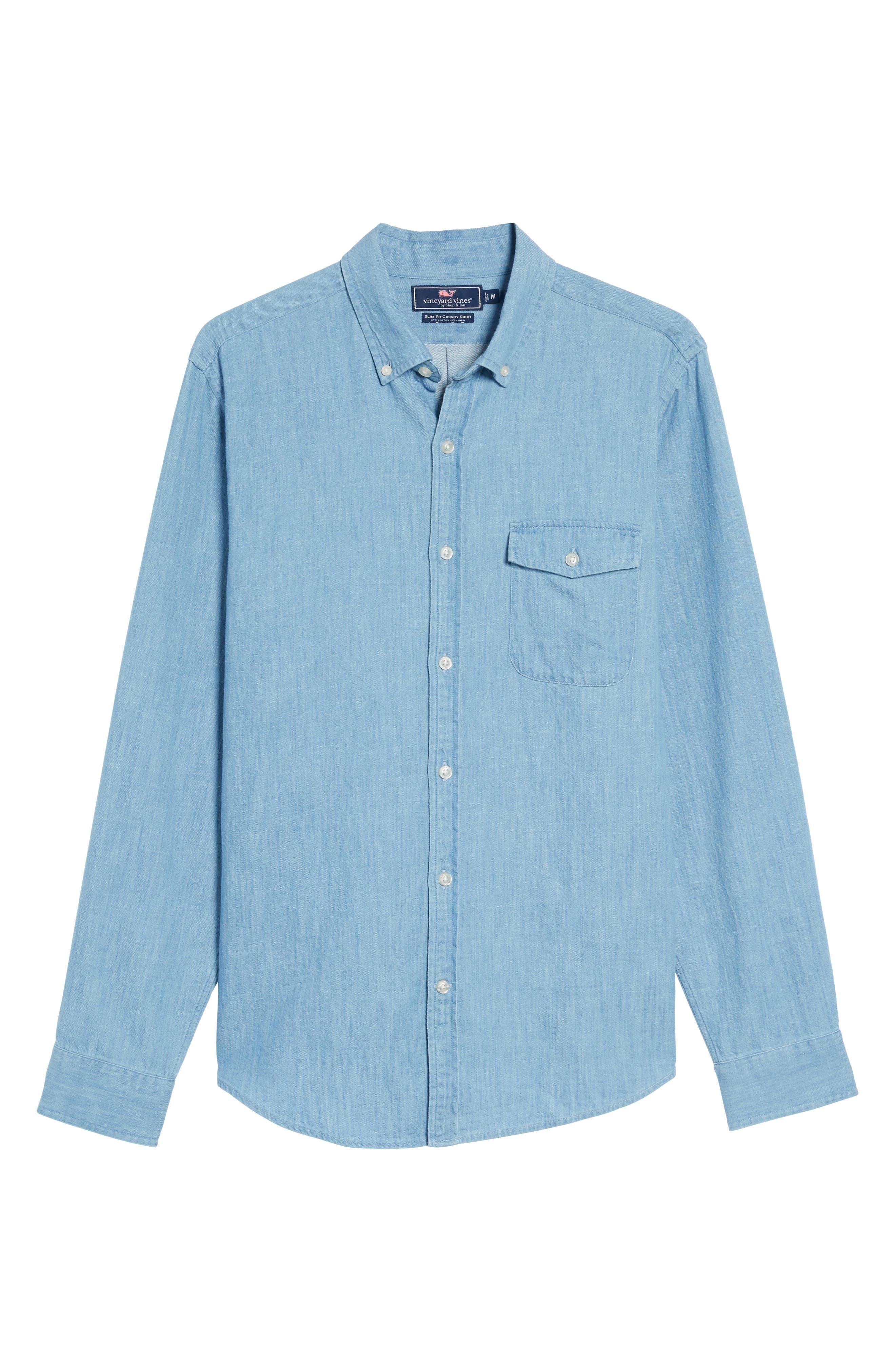 Lightkeeper Slim Fit Chambray Sport Shirt,                             Alternate thumbnail 6, color,                             429