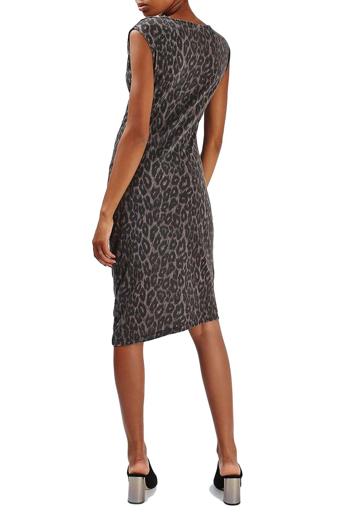 Leopard Print Midi Dress,                             Alternate thumbnail 4, color,                             001