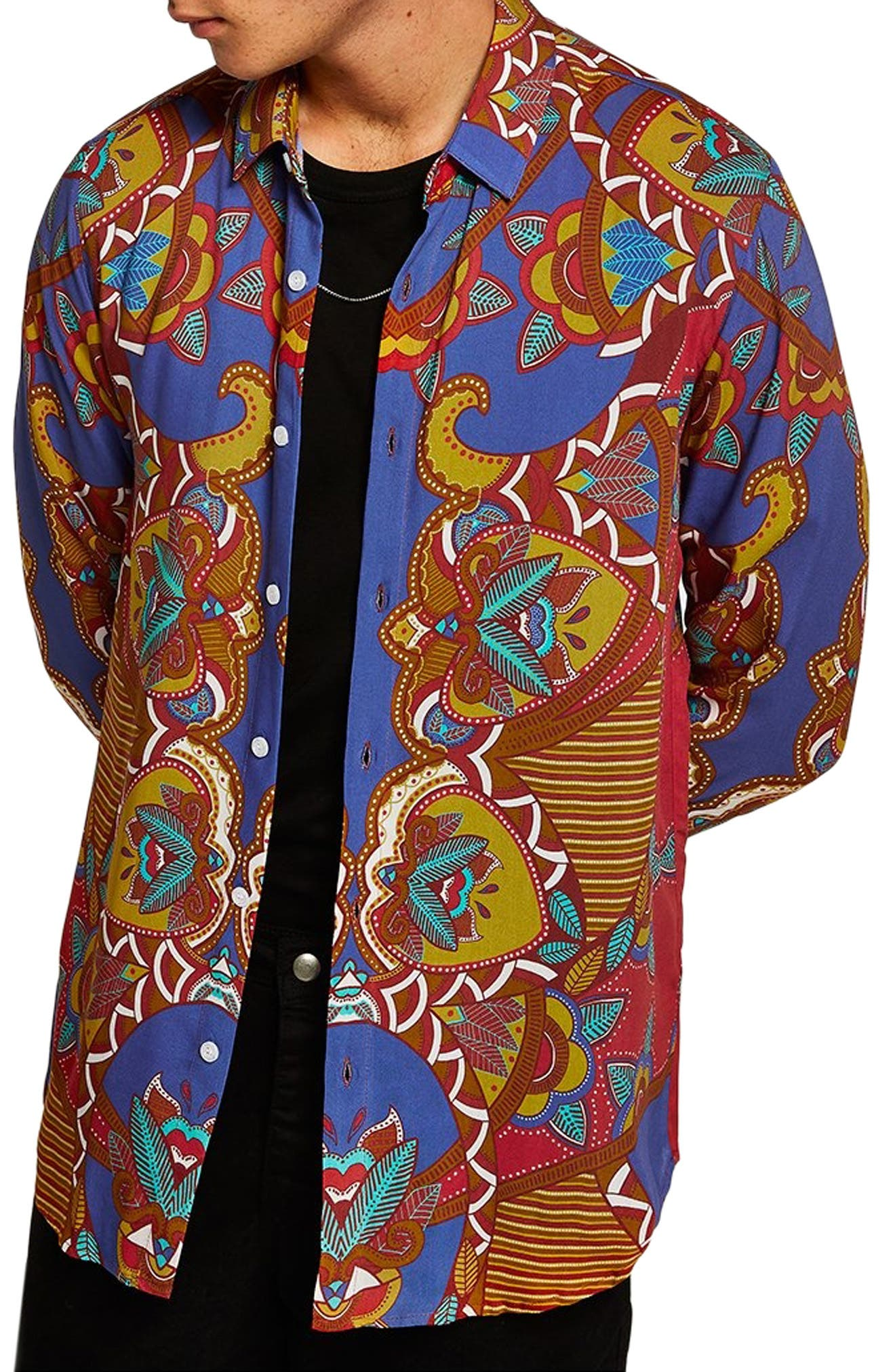 African Baroque Classic Fit Shirt,                             Main thumbnail 1, color,                             BLUE MULTI