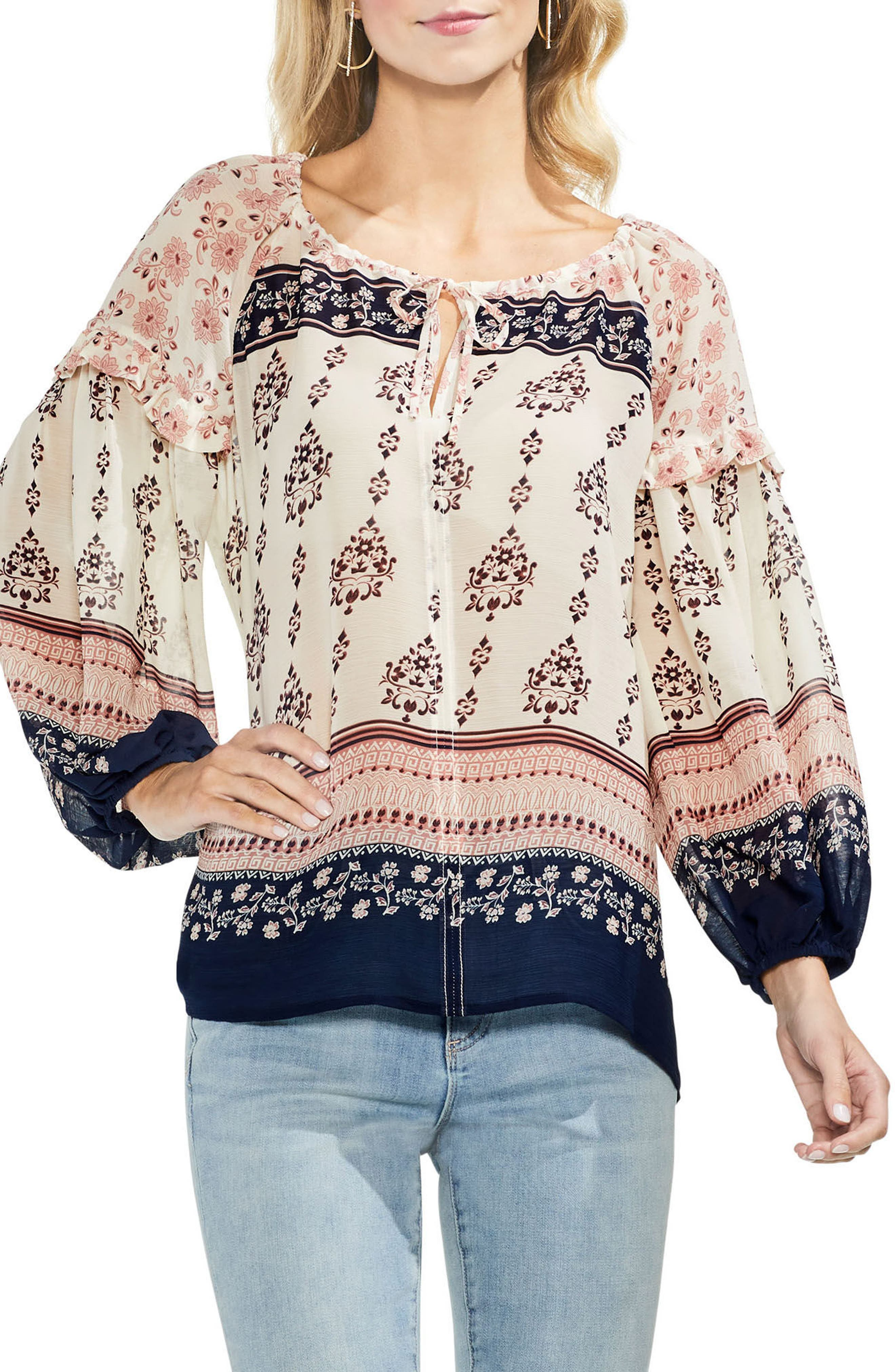 Wildflower Print Peasant Blouse,                         Main,                         color,