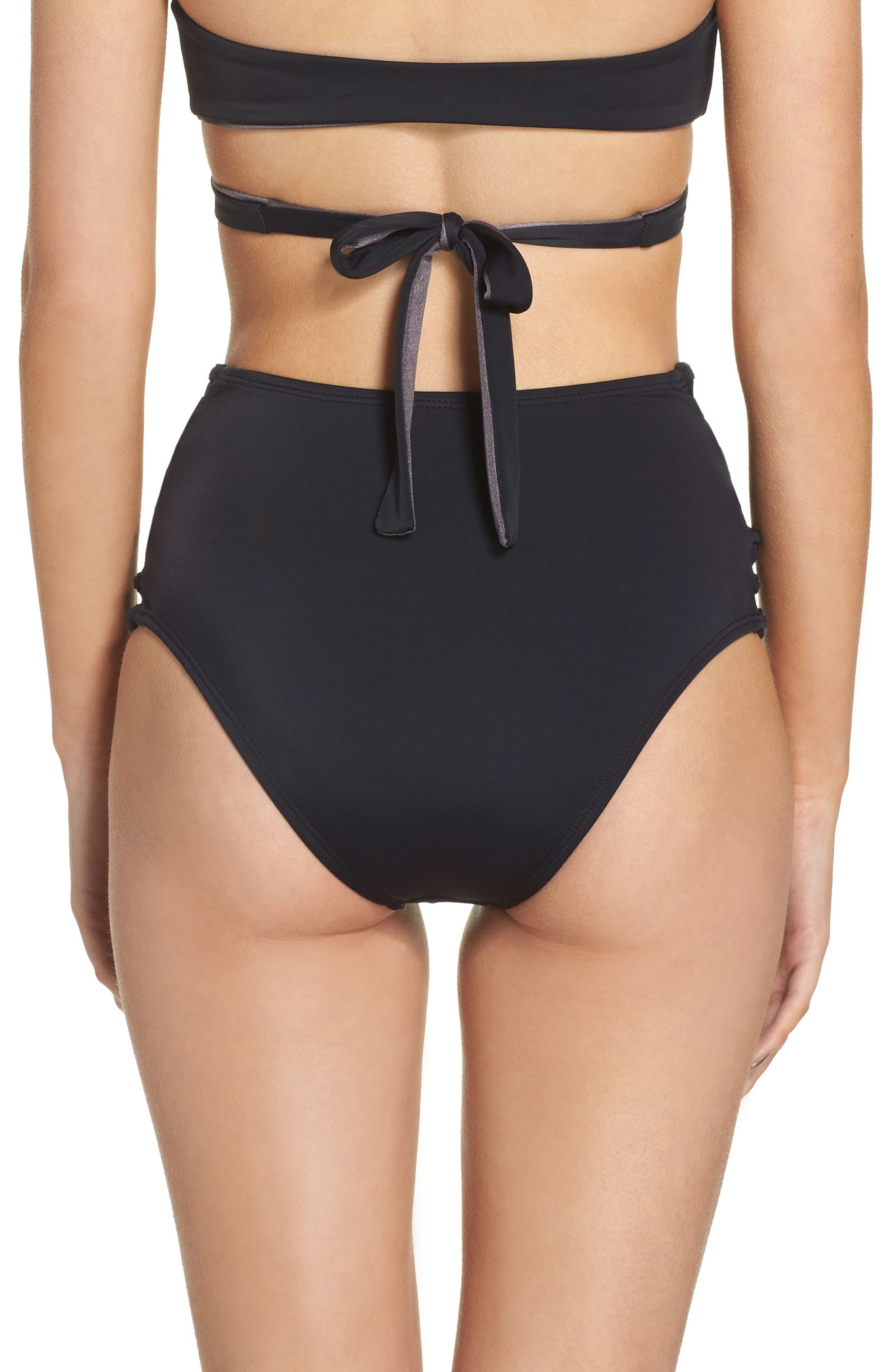 High Waist Bikini Bottoms,                             Alternate thumbnail 2, color,                             BLACK