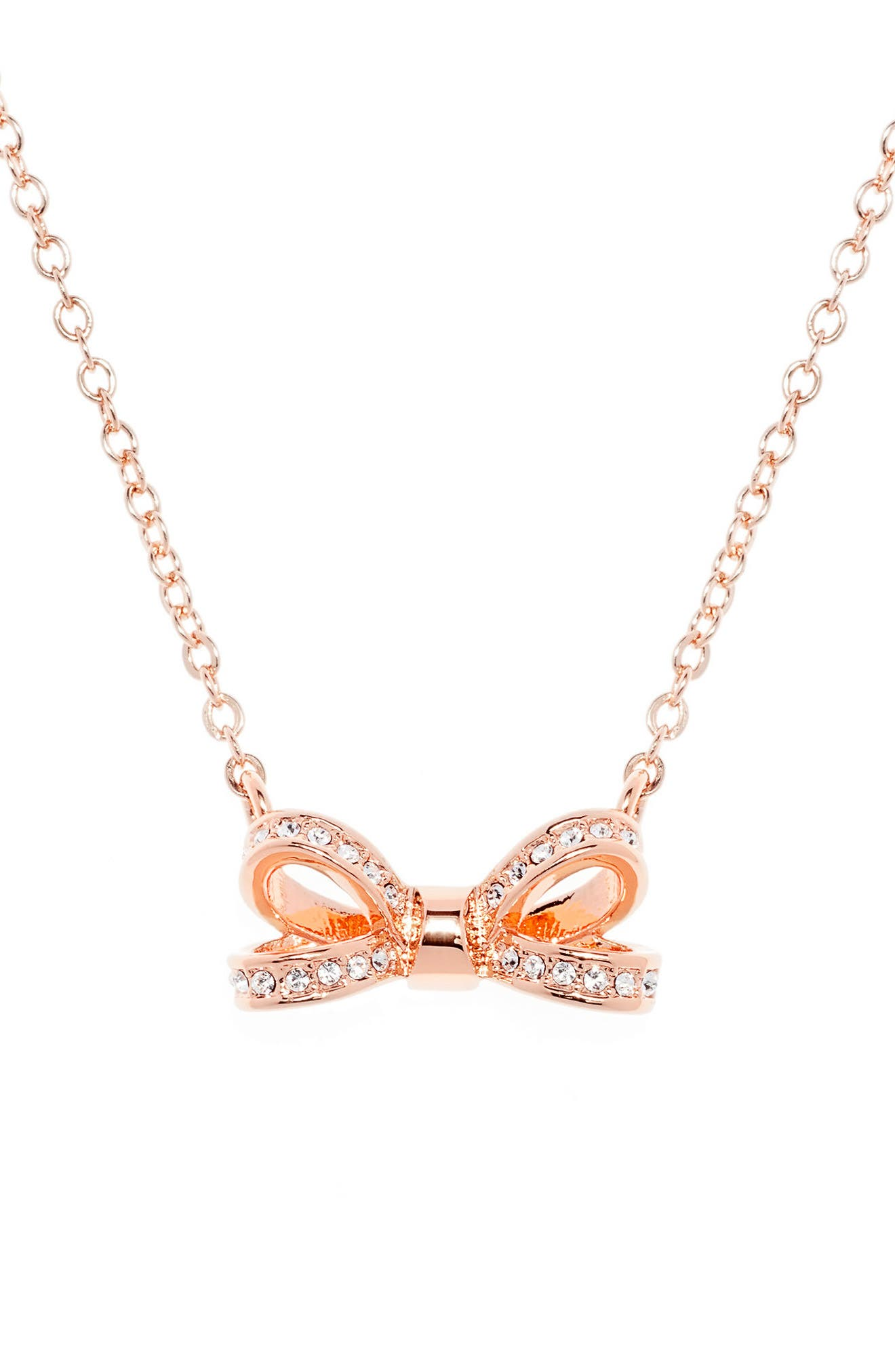 Opulent Pavé Bow Pendant Necklace,                             Alternate thumbnail 2, color,