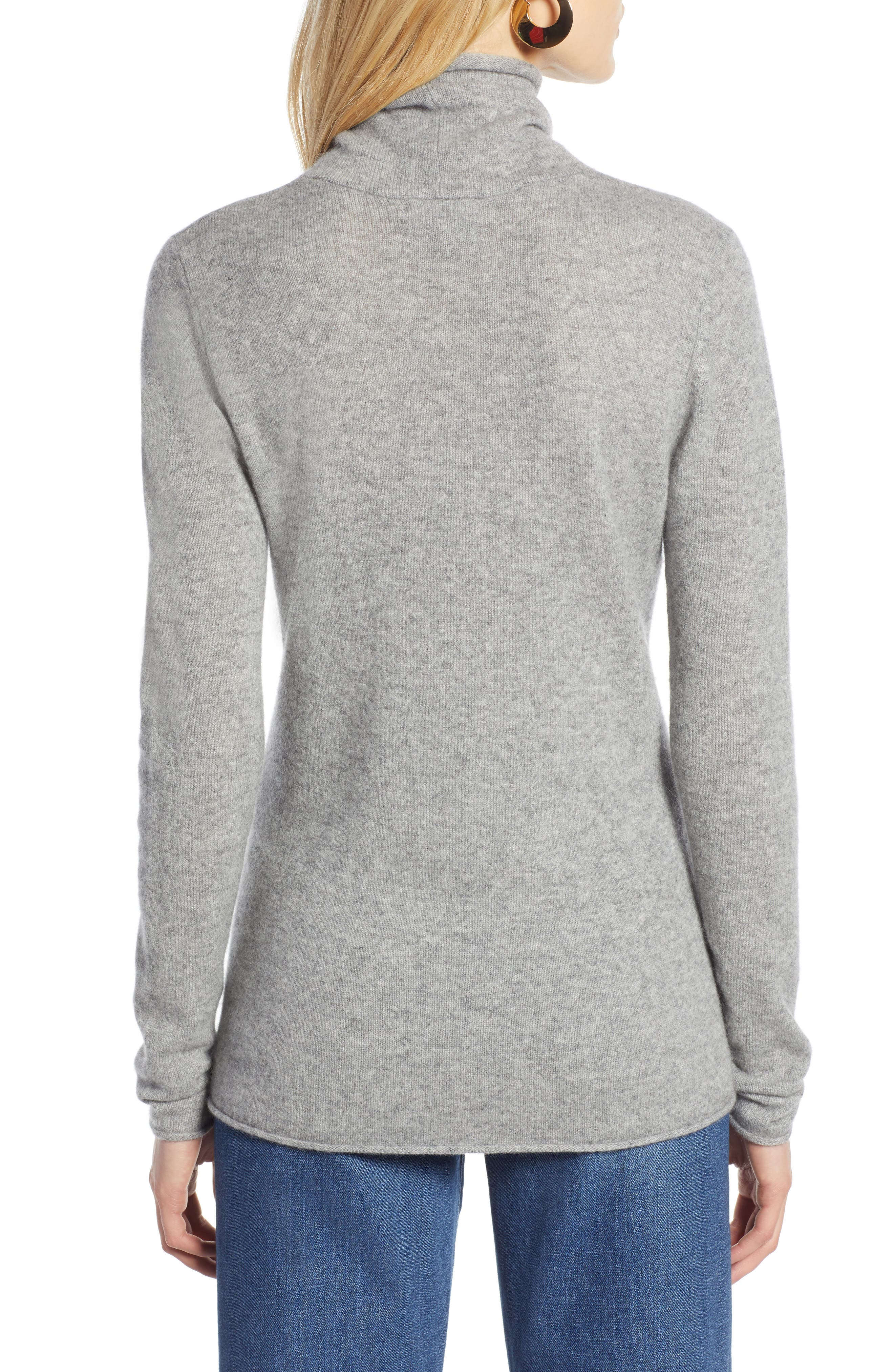 HALOGEN<SUP>®</SUP>,                             Funnel Neck Cashmere Sweater,                             Alternate thumbnail 2, color,                             GREY HEATHER