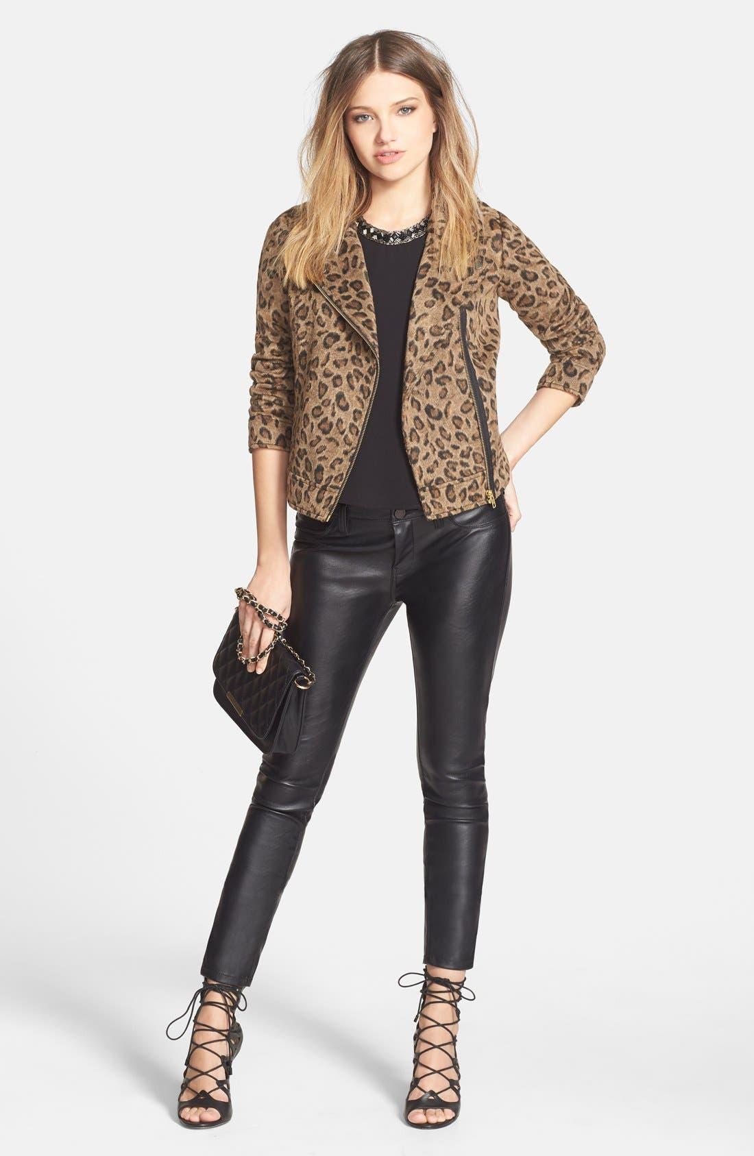 Leopard Print Moto Jacket,                             Alternate thumbnail 4, color,                             235