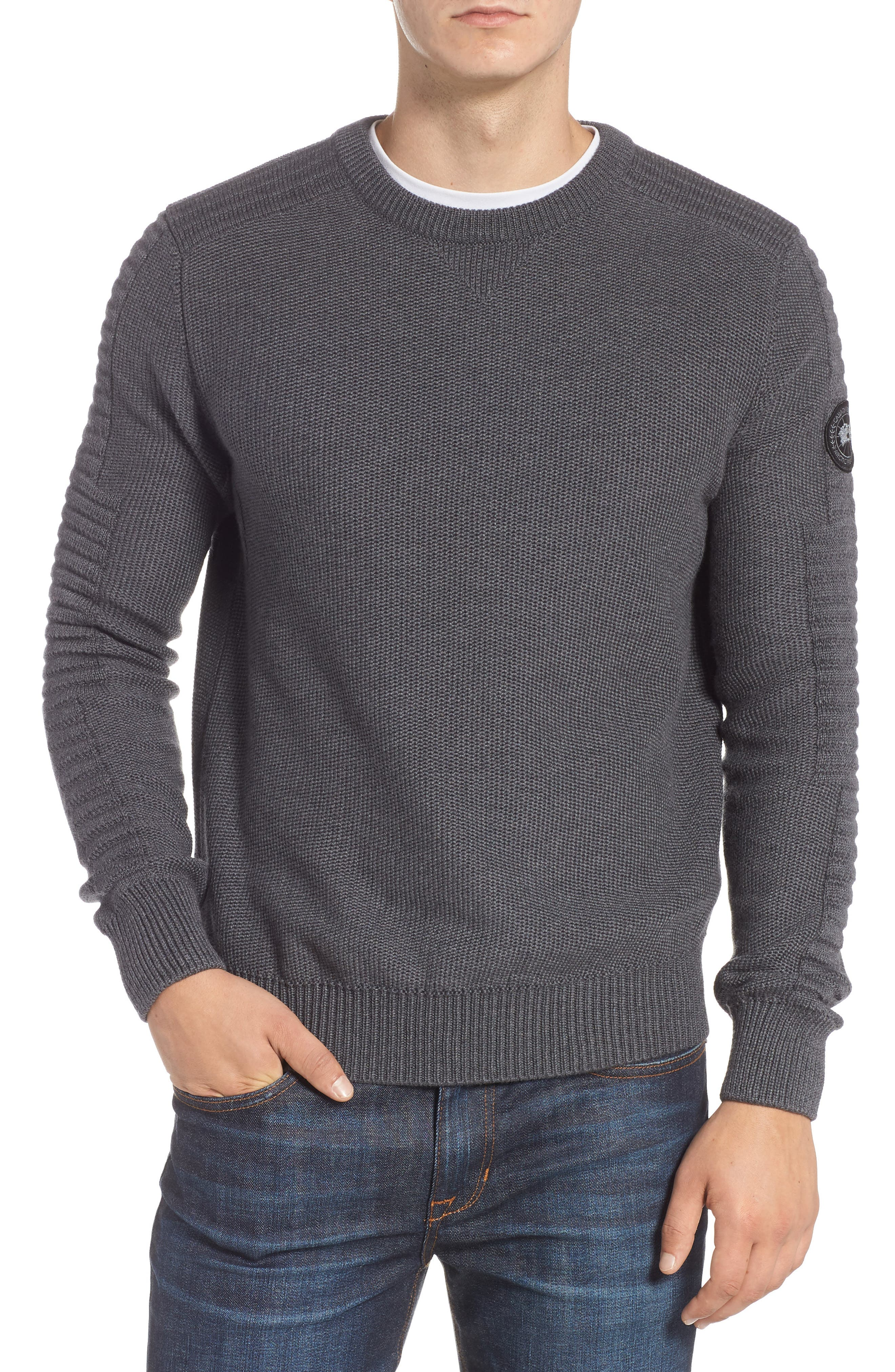 Paterson Mixed-Stitch Pullover Sweater in Iron Grey