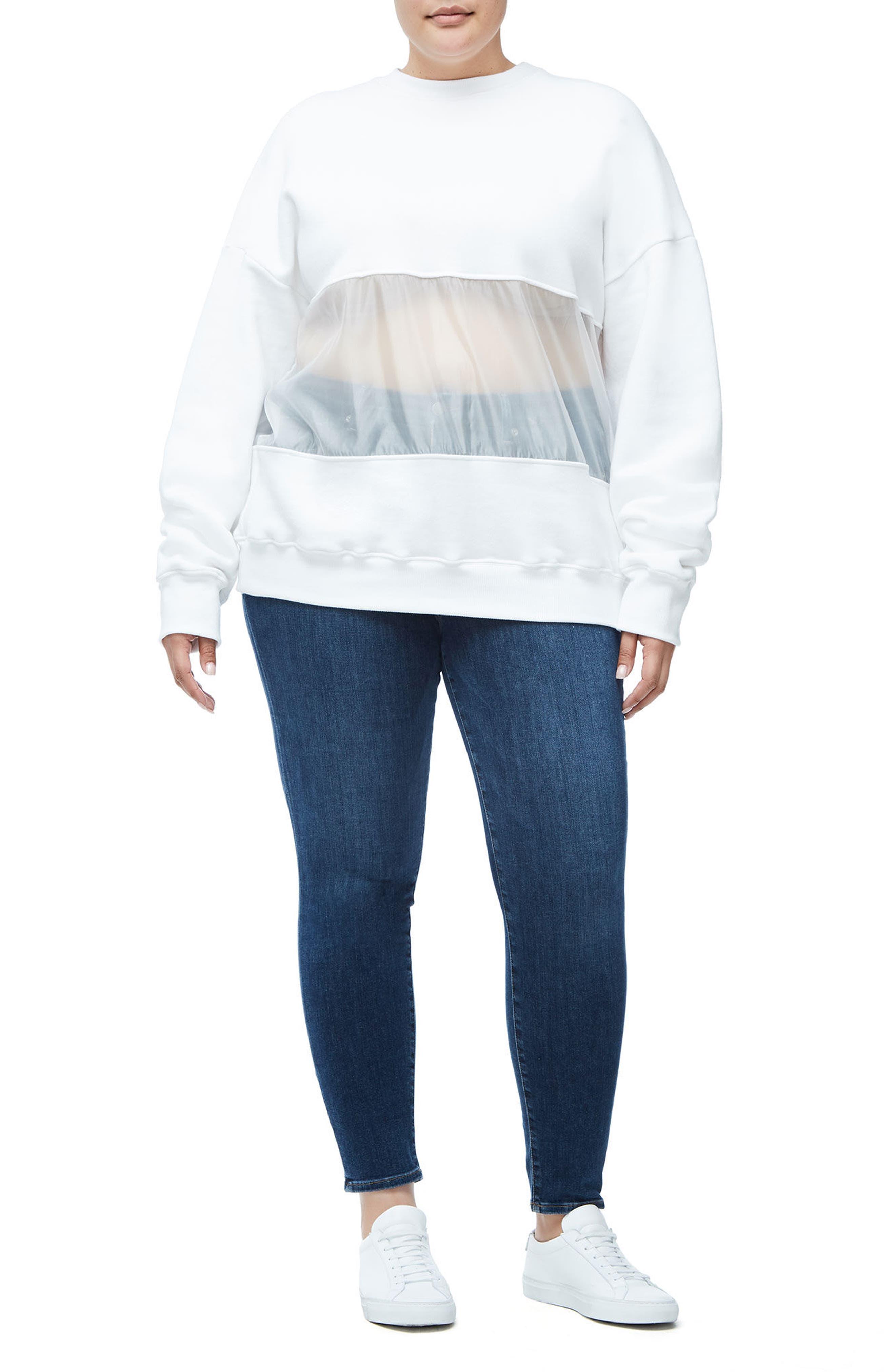 Mixed Media Oversize Sweatshirt,                             Alternate thumbnail 10, color,