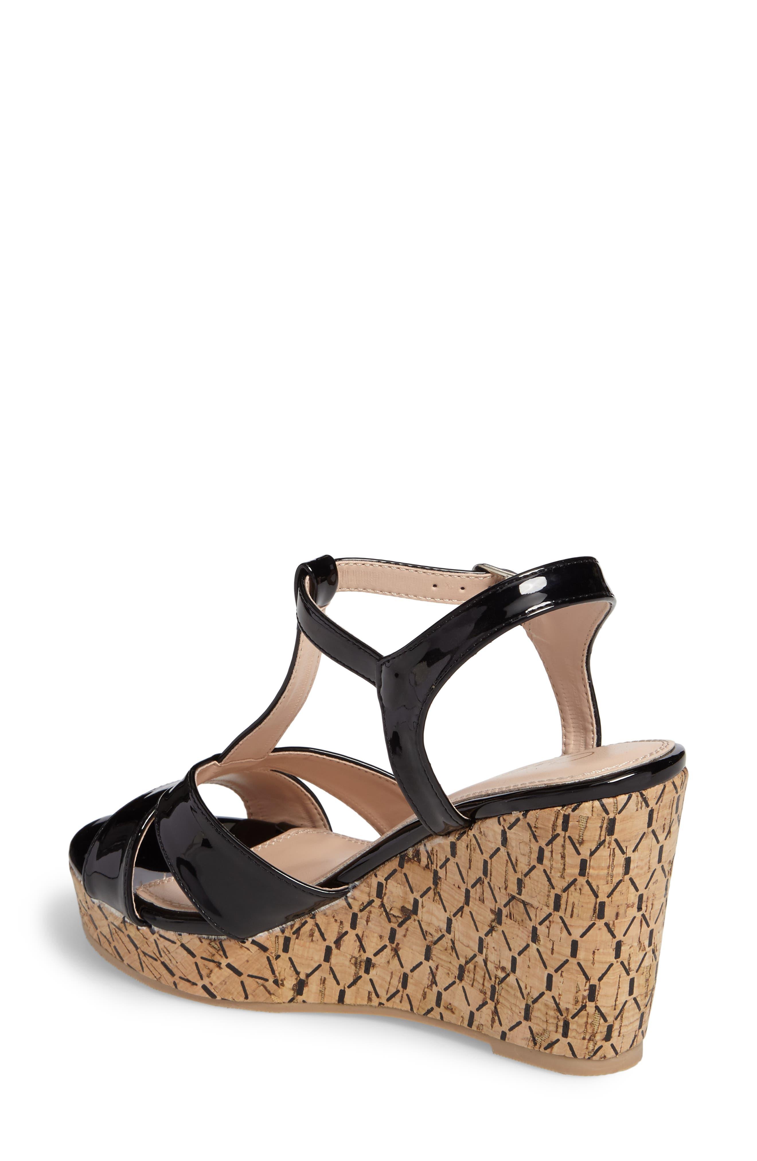 Teluride Platform Wedge Sandal,                             Alternate thumbnail 2, color,                             BLACK SYNTHETIC PATENT