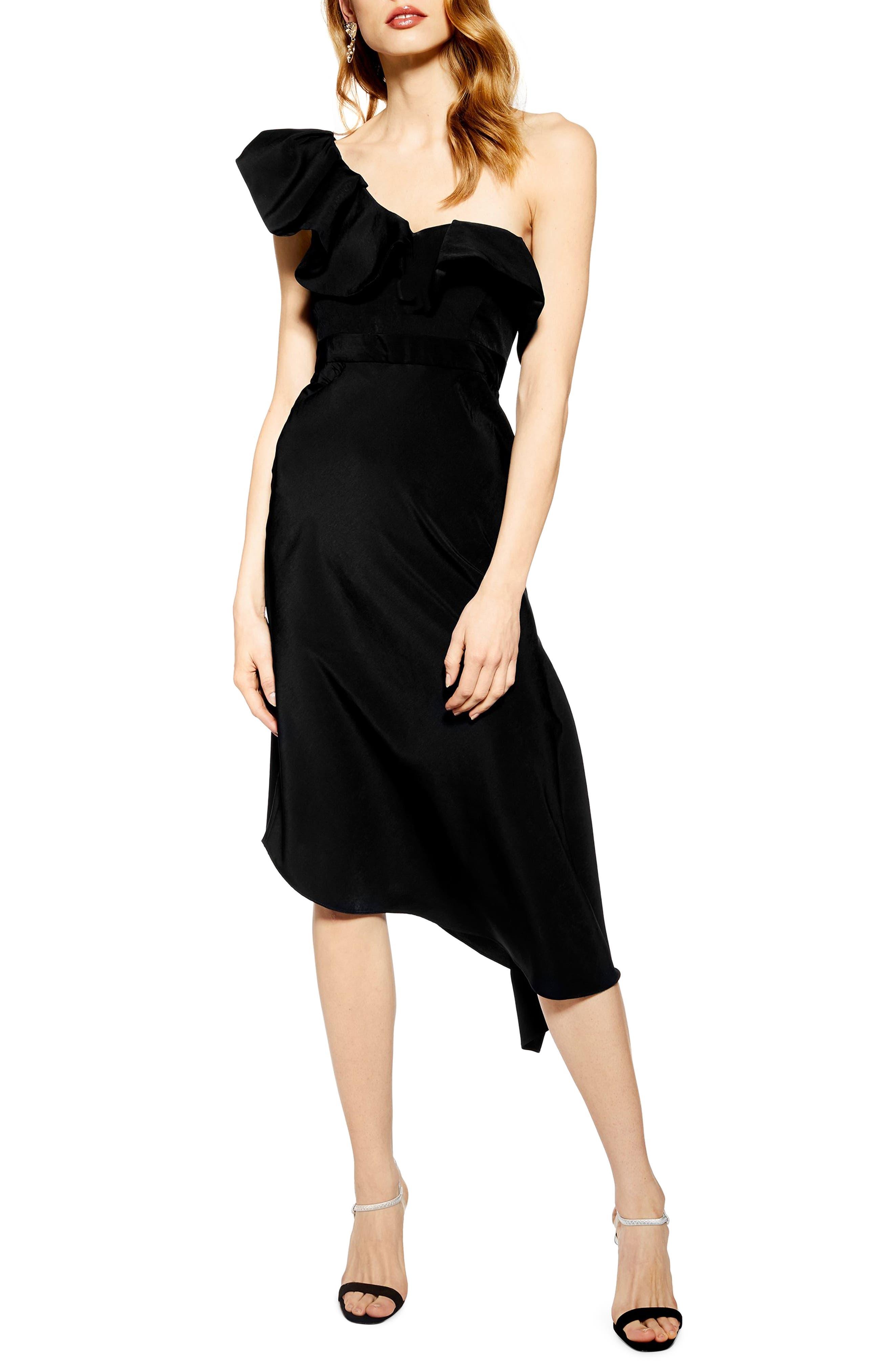 Topshop Ruffle One-Shoulder Midi Dress, US (fits like 0) - Black