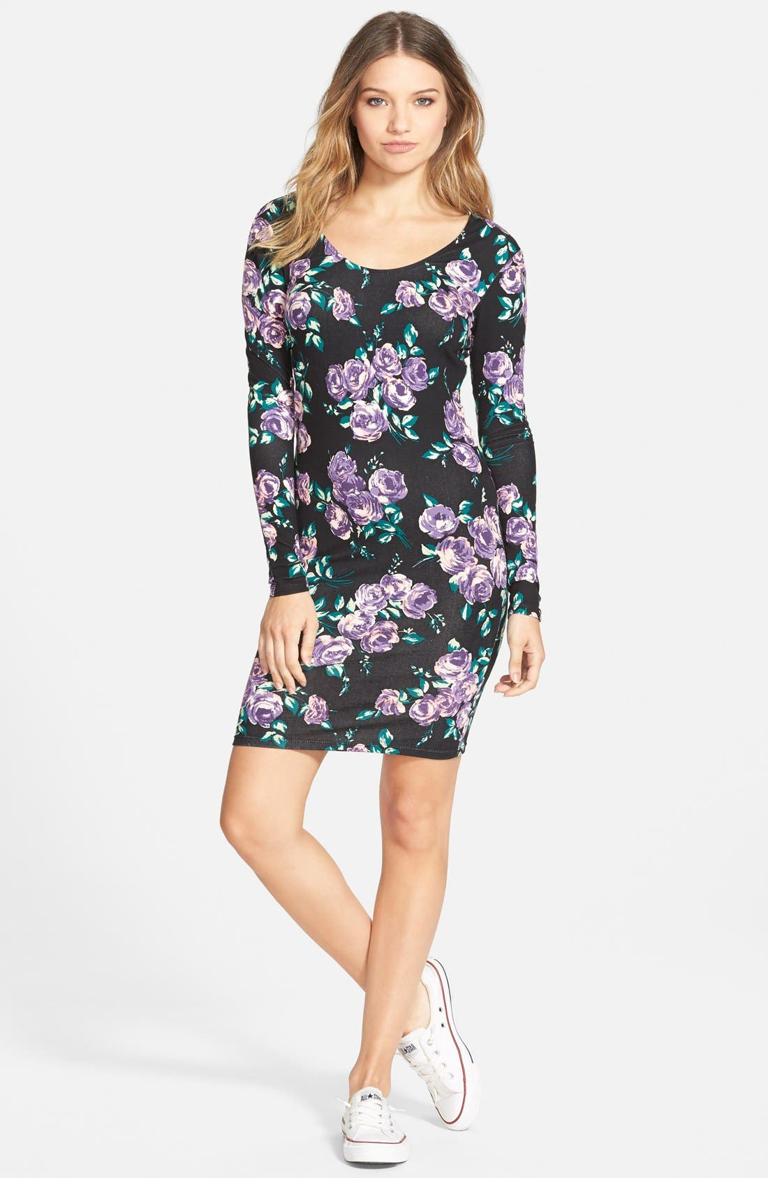 VOLCOM 'Anytime' Floral Print Body-Con Dress, Main, color, 500