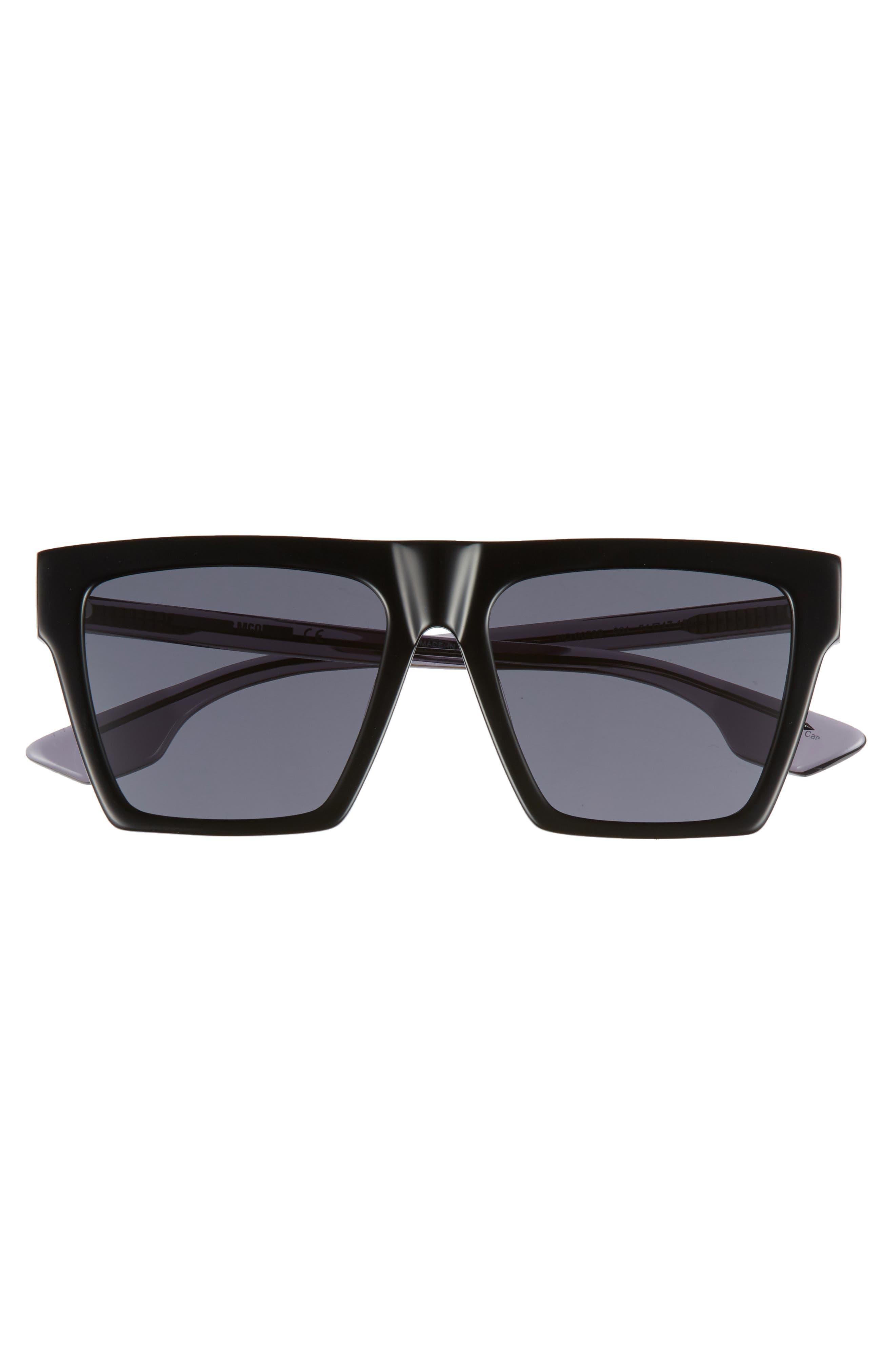 Alexander McQueen 54mm Flat Top Sunglasses,                             Alternate thumbnail 3, color,                             BLACK