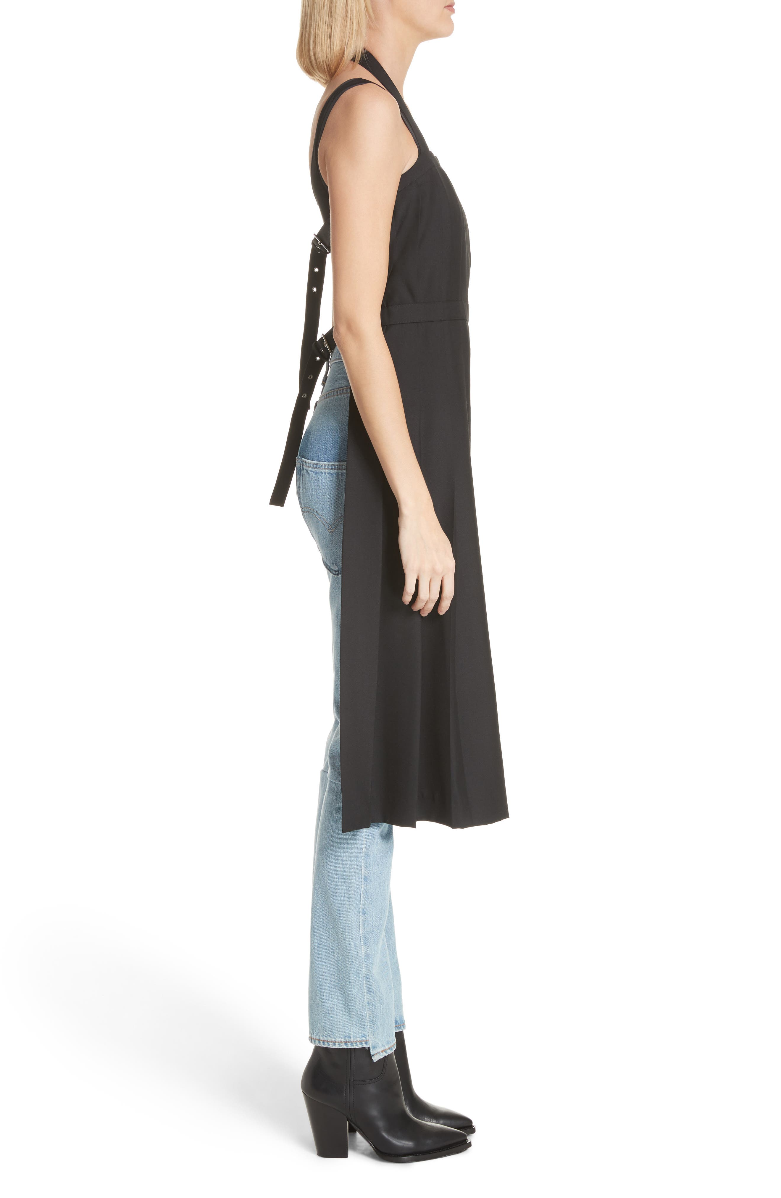 Pleated Open Back Wool Dress,                             Alternate thumbnail 3, color,                             001