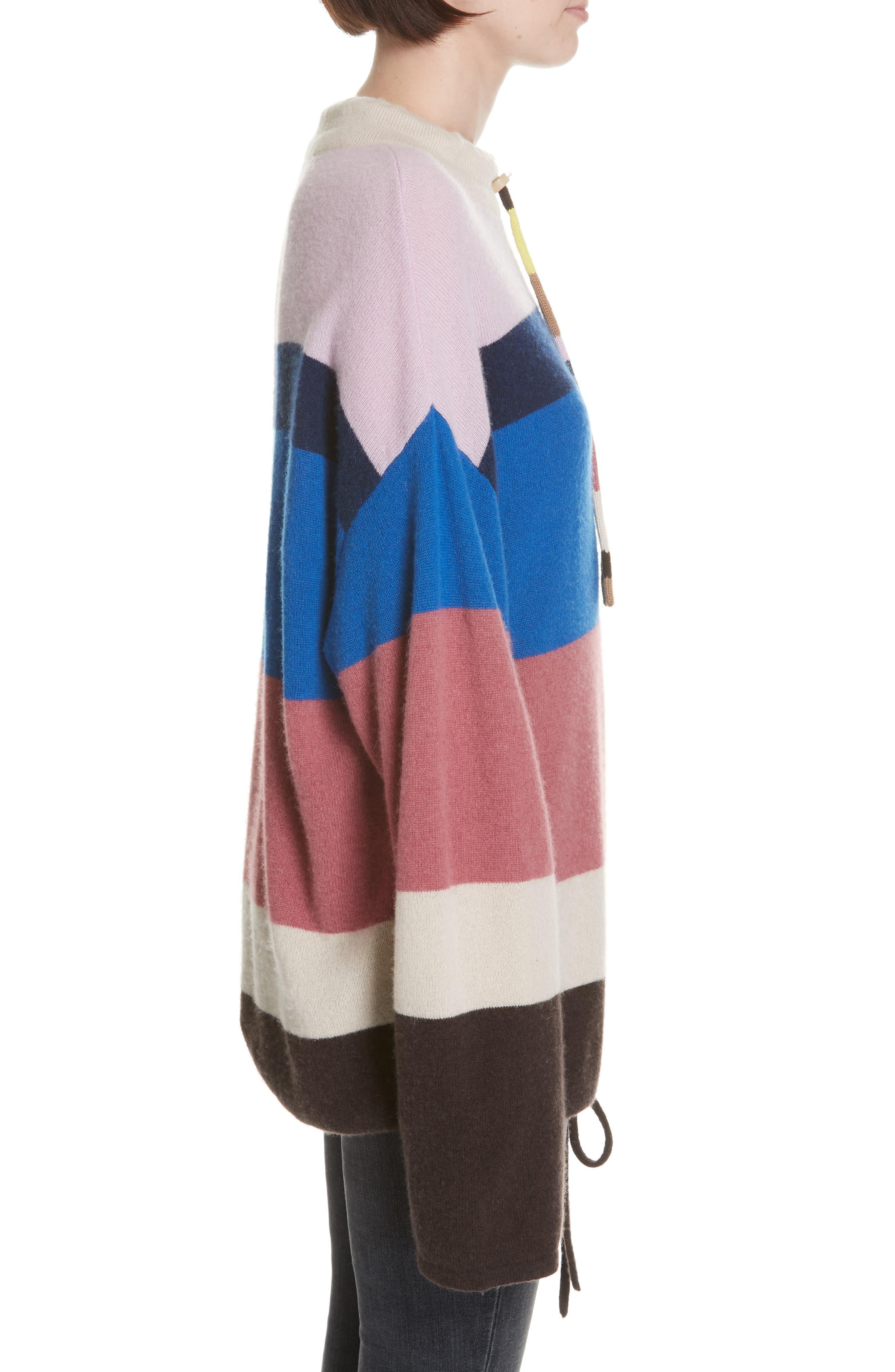 Stripe Mock Neck Cashmere Pullover,                             Alternate thumbnail 3, color,                             ROYAL BLUE MULTI