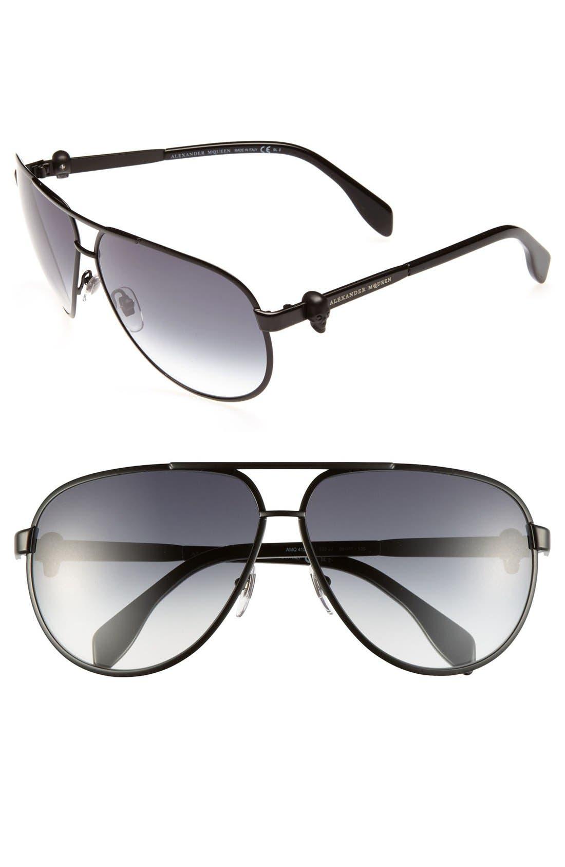 65mm Skull Temple Metal Aviator Sunglasses,                         Main,                         color, 001