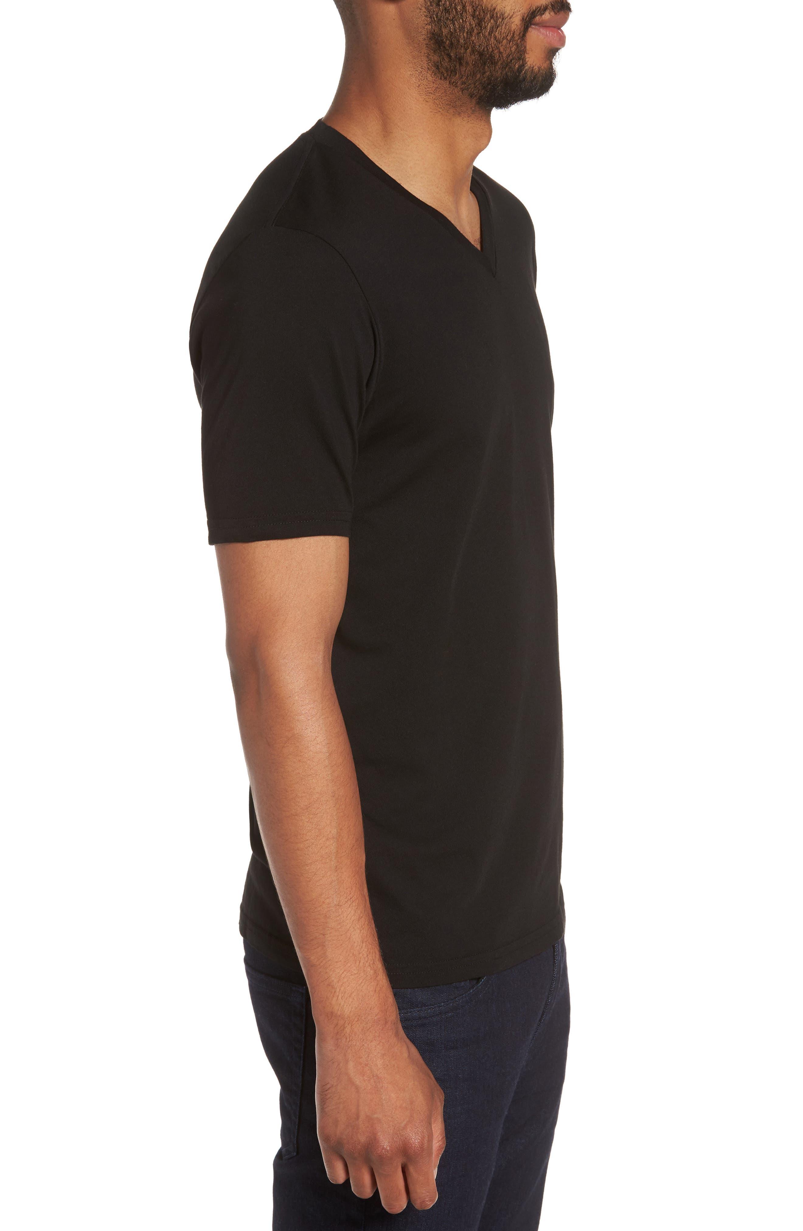 Classic Supima Cotton Blend V-Neck T-Shirt,                             Alternate thumbnail 3, color,                             BLACK
