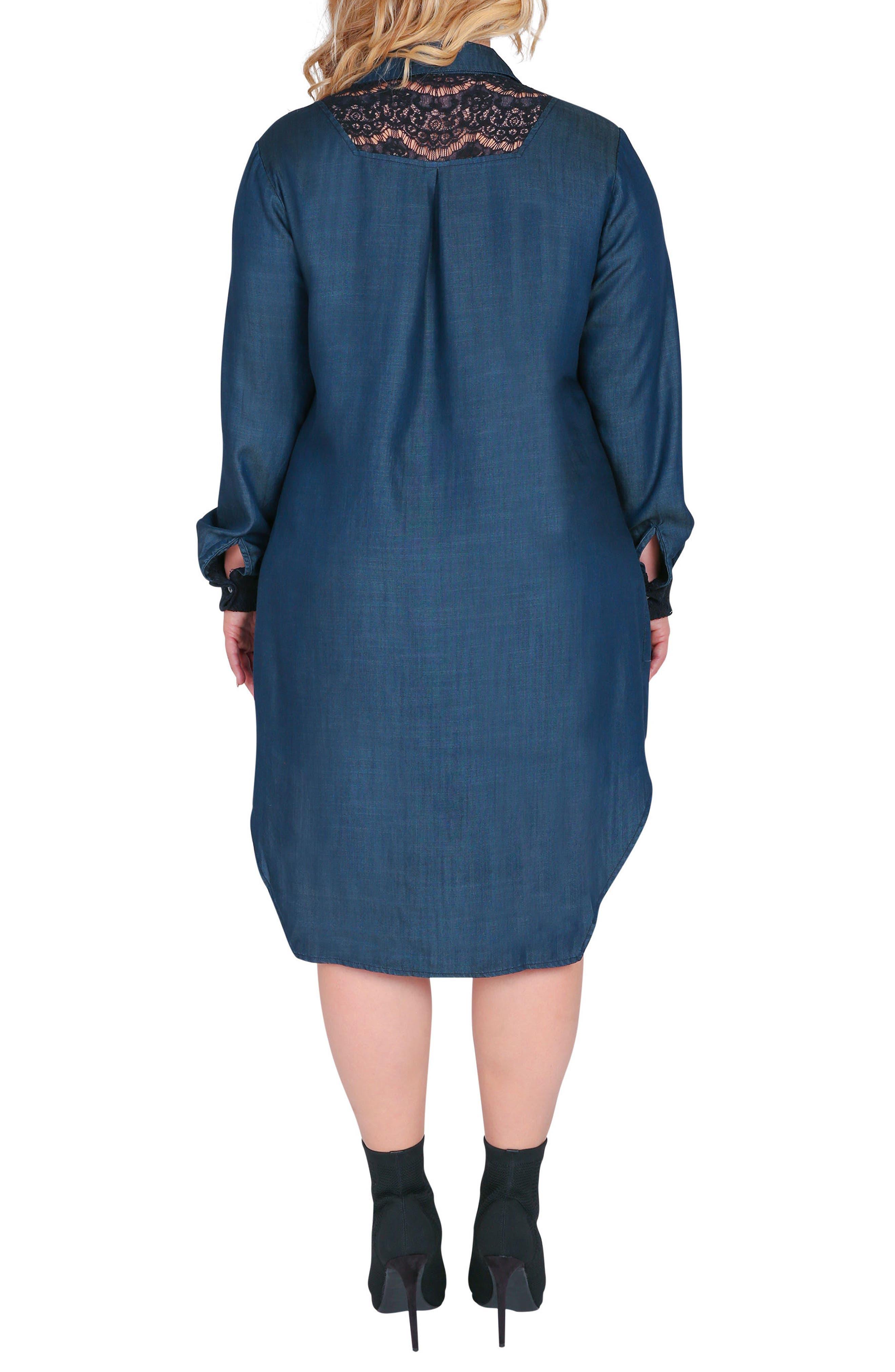 STANDARDS & PRACTICES,                             Felicity Lace Trim Denim Shirtdress,                             Alternate thumbnail 2, color,                             BLUE